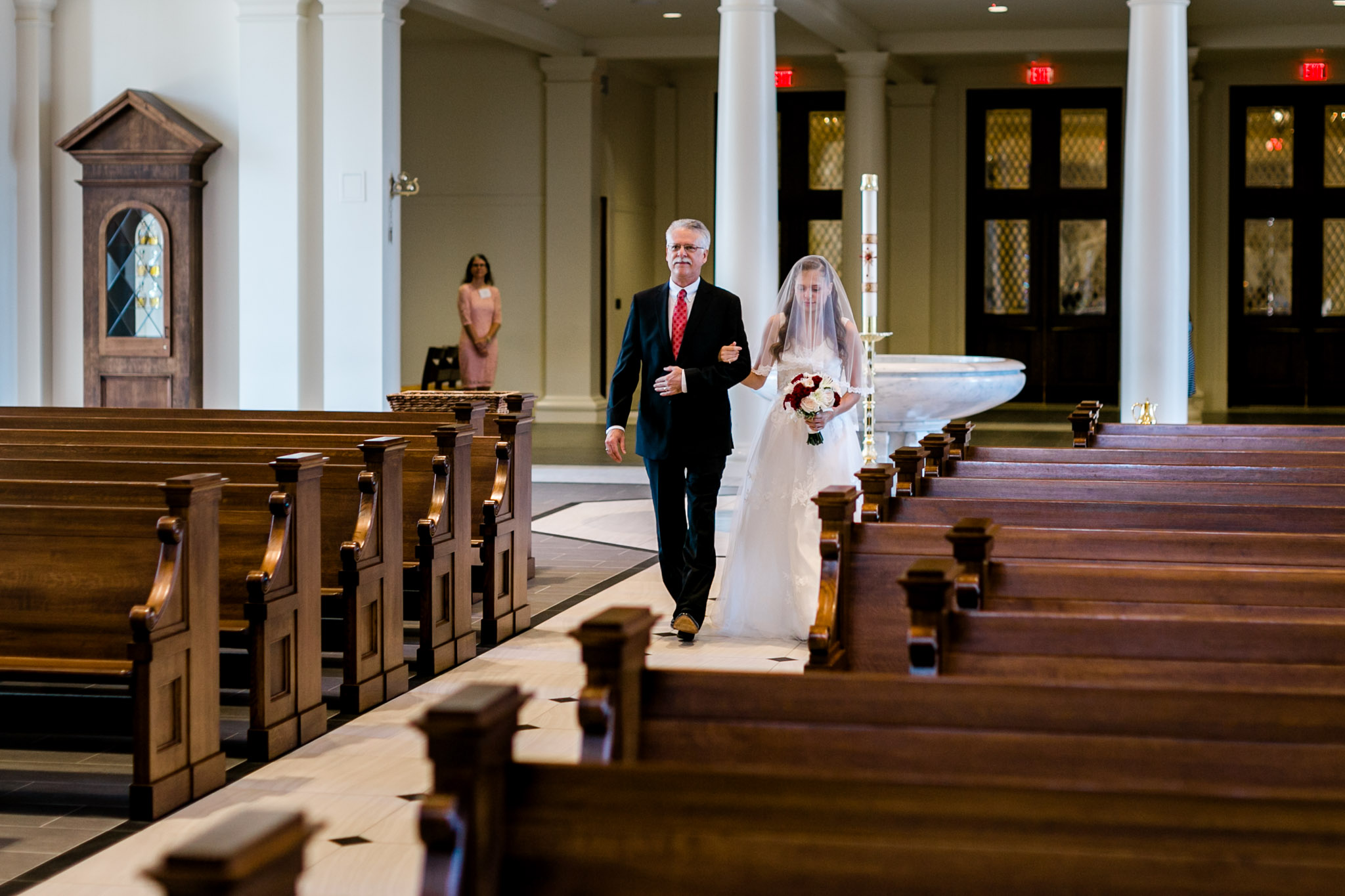 Father walking bride down the aisle | Holy Name of Jesus Cathedral | Raleigh Wedding Photographer | By G. Lin Photography