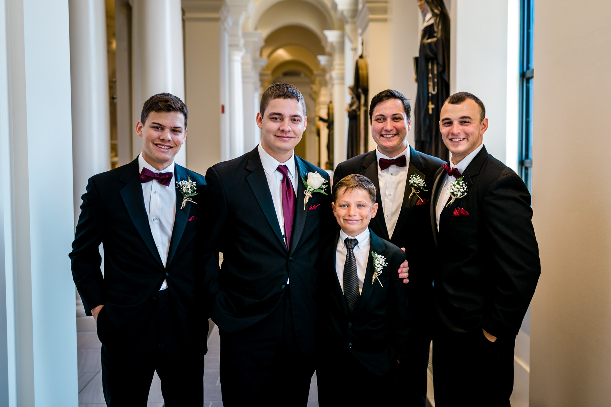 Portrait of groomsmen at Holy Name of Jesus Cathedral | Raleigh Wedding Photographer | By G. Lin Photography