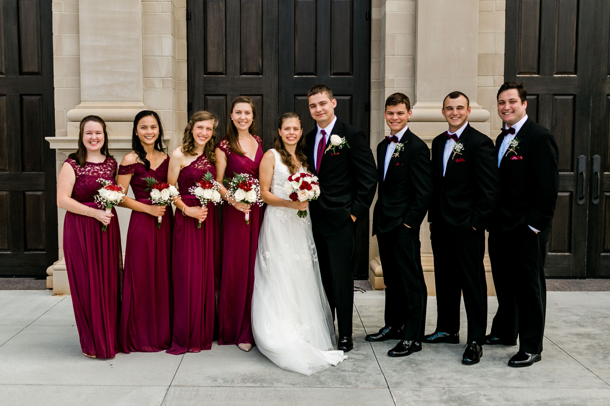 Wedding party photo wine red color scheme | Raleigh Wedding Photographer | By G. Lin Photography