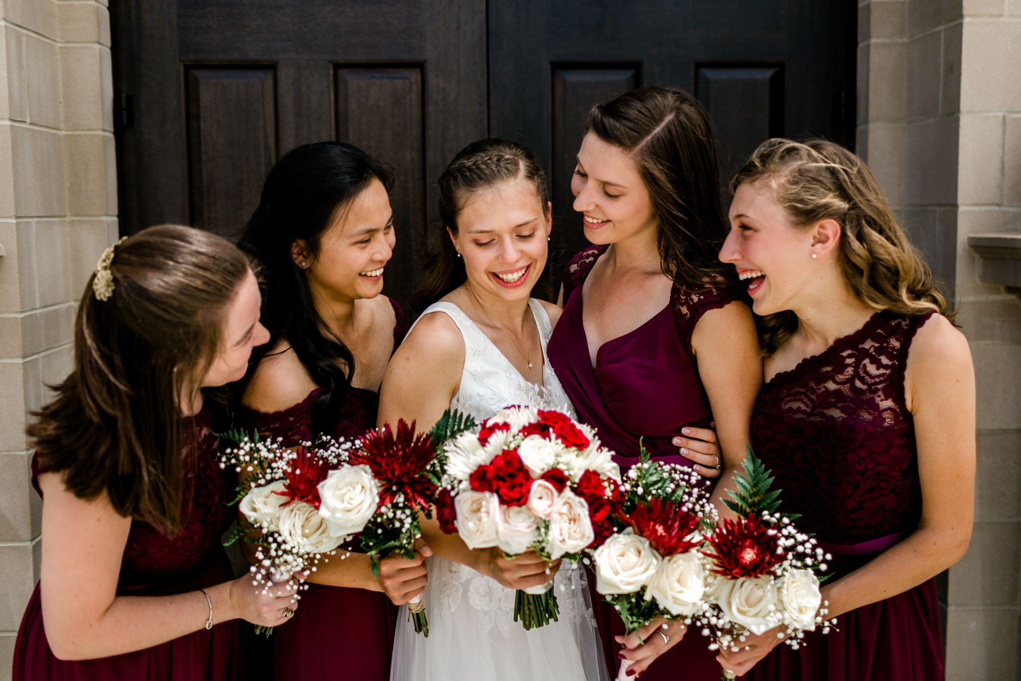 Bridesmaids looking at bride | Raleigh Wedding Photographer | By G. Lin Photography
