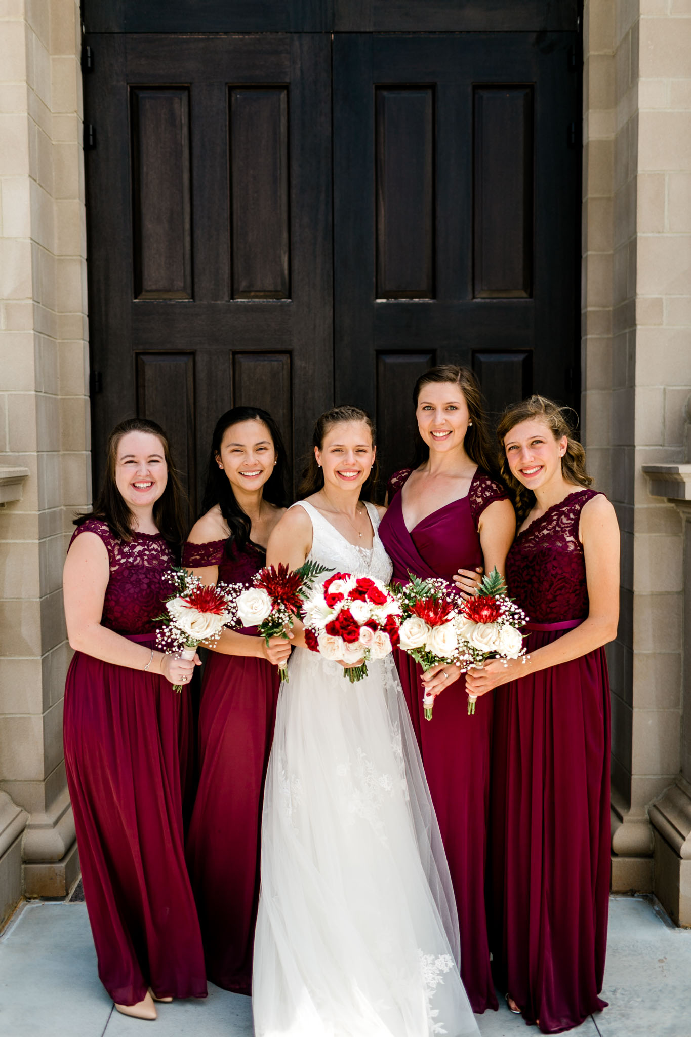 Bridesmaids wearing red wine gowns | Raleigh Wedding Photographer | By G. Lin Photography