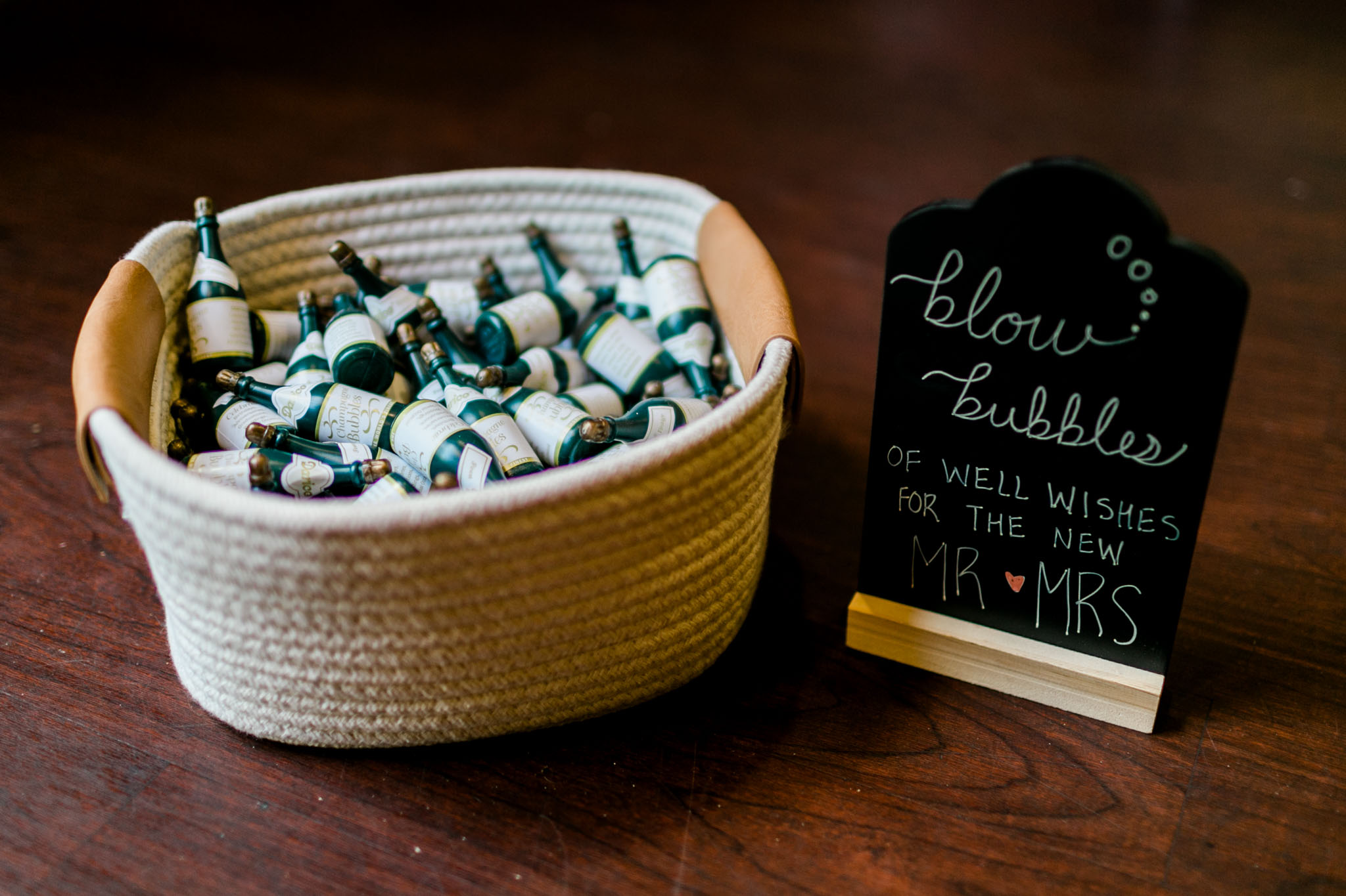 Basket with bubbles for wedding sendoff | Raleigh Wedding Photographer | By G. Lin Photography