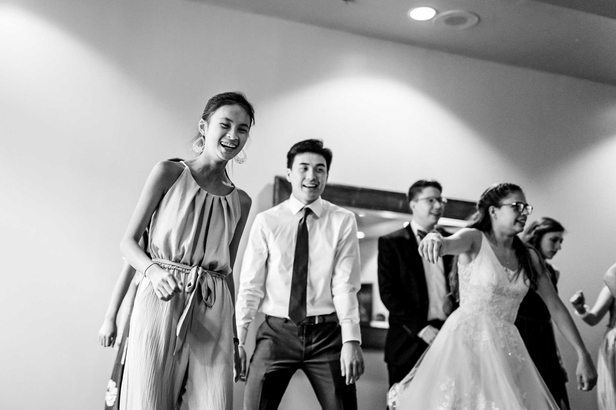 Black and white photo of wedding dancing at Royal Banquet Conference Center | Raleigh Wedding Photographer | By G. Lin Photography