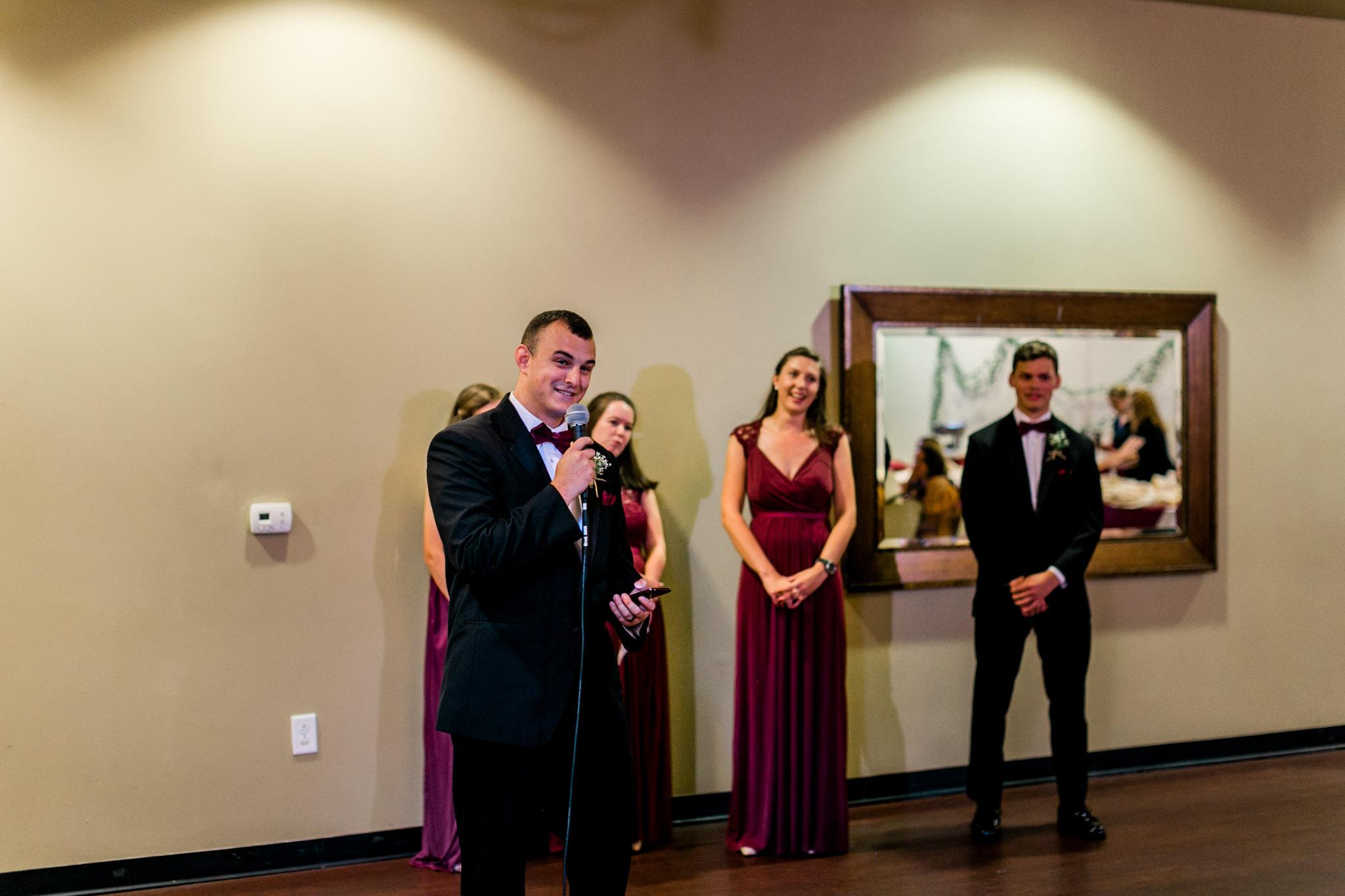 Groomsman giving toast |  Raleigh Wedding Photographer | By G. Lin Photography