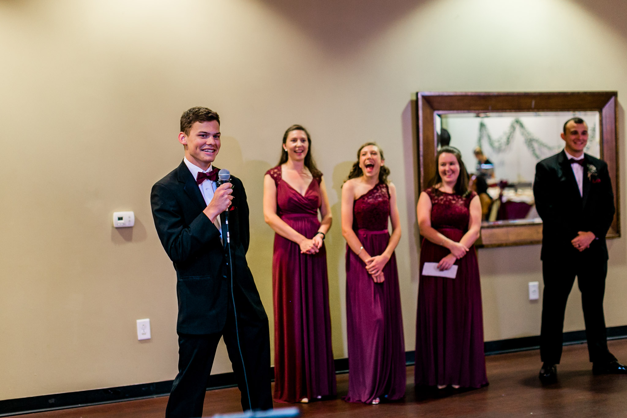 Groomsmen giving toast at wedding reception | Royal Banquet Conference Center | Raleigh Wedding Photographer | By G. Lin Photography