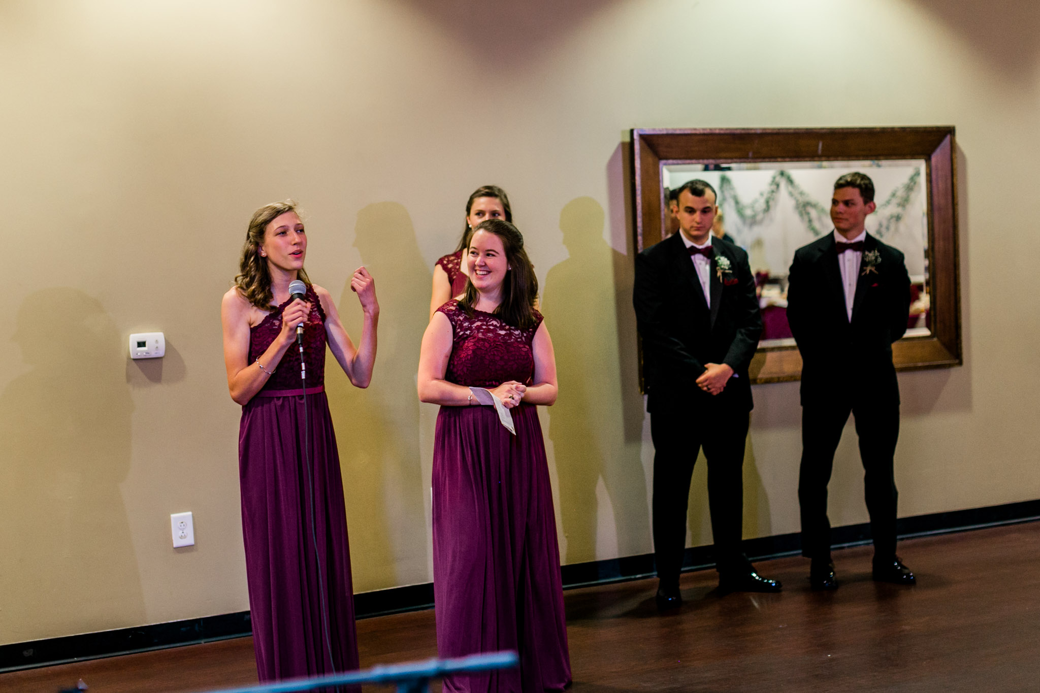 Bridesmaids giving toast | Royal Banquet Conference Center | Raleigh Wedding Photographer | By G. Lin Photography