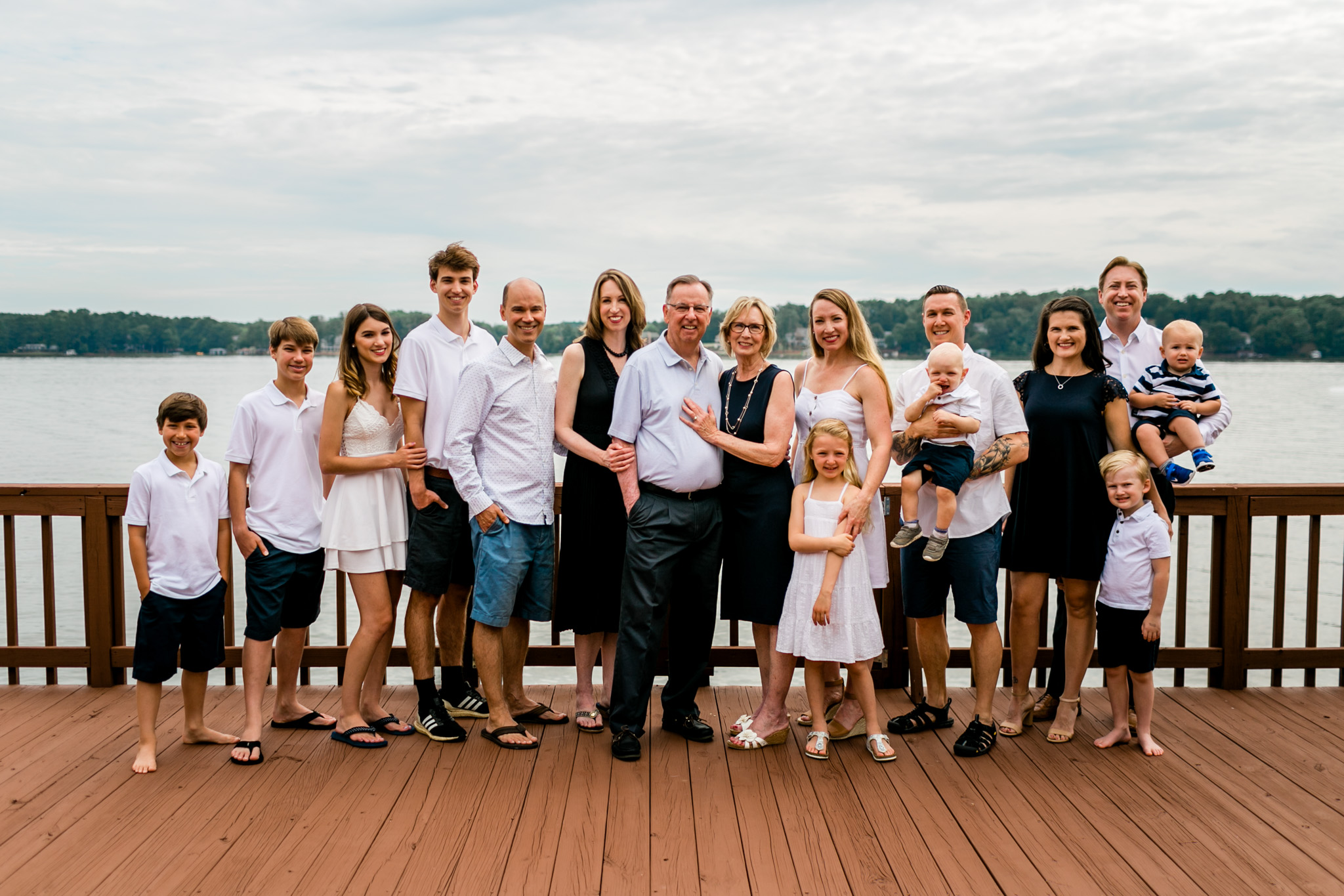 Family photo on dock at Lake Gaston | Durham Family Photographer | By G. Lin Photography