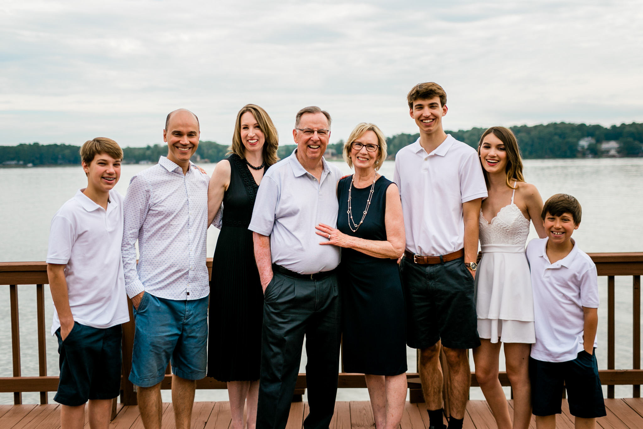 Outdoor family portrait on dock | Durham Family Photographer | By G. Lin Photography