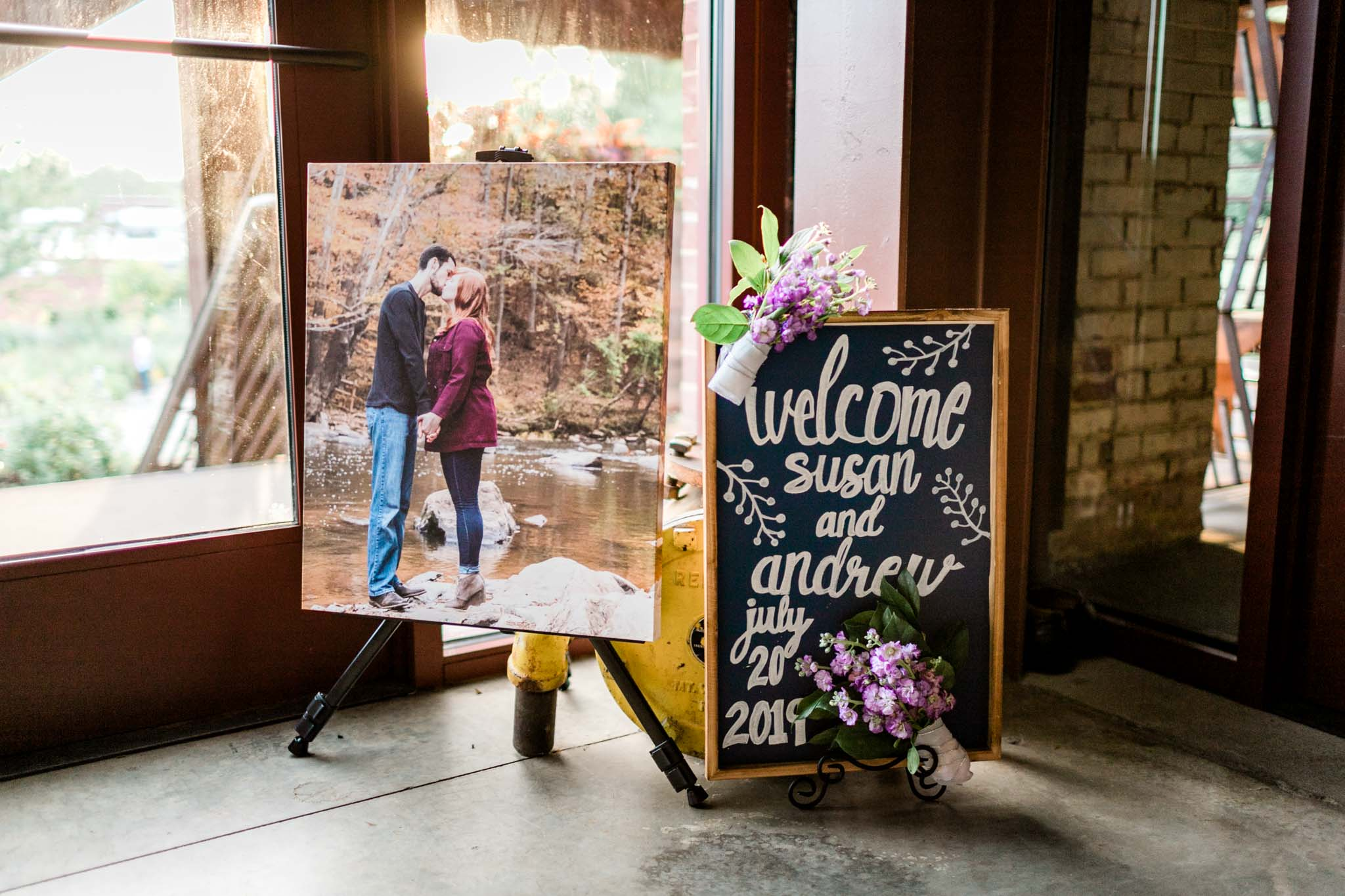 Haw River Ballroom Wedding | Durham Photographer | By G. Lin Photography | Welcome sign to wedding
