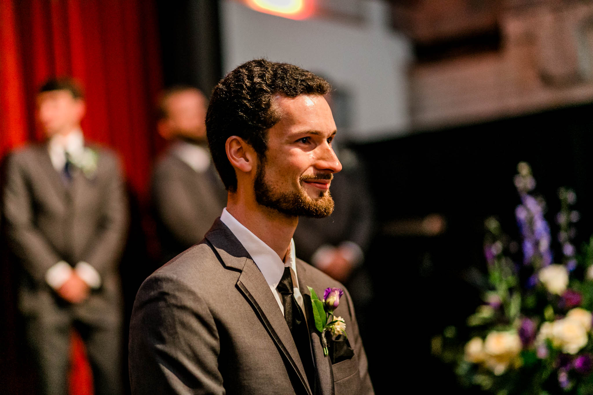 Haw River Ballroom Wedding | Durham Photographer | By G. Lin Photography | Close up of Groom during ceremony