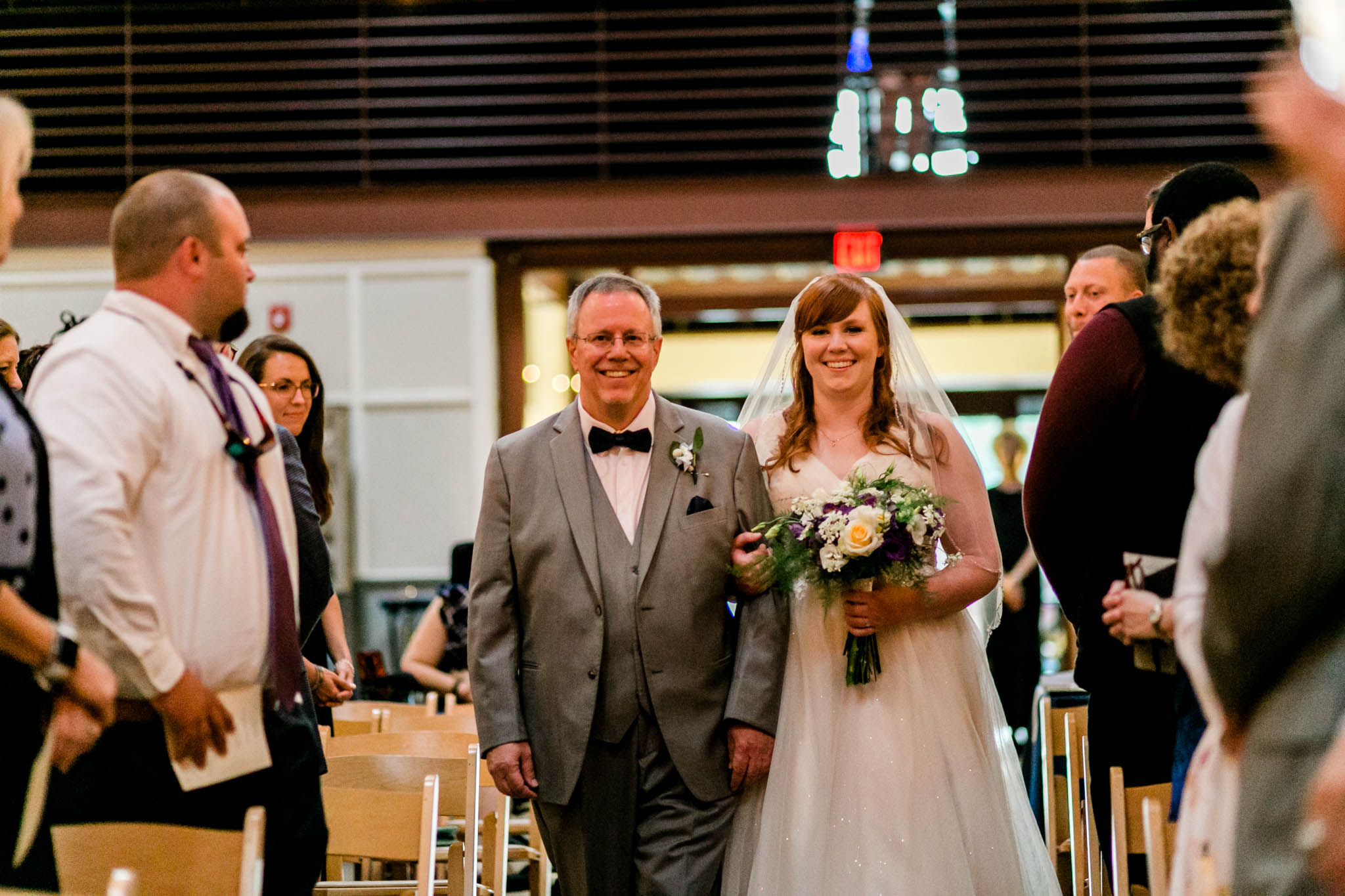 Haw River Ballroom Wedding | Durham Photographer | By G. Lin Photography | Bride with father walking down the aisle