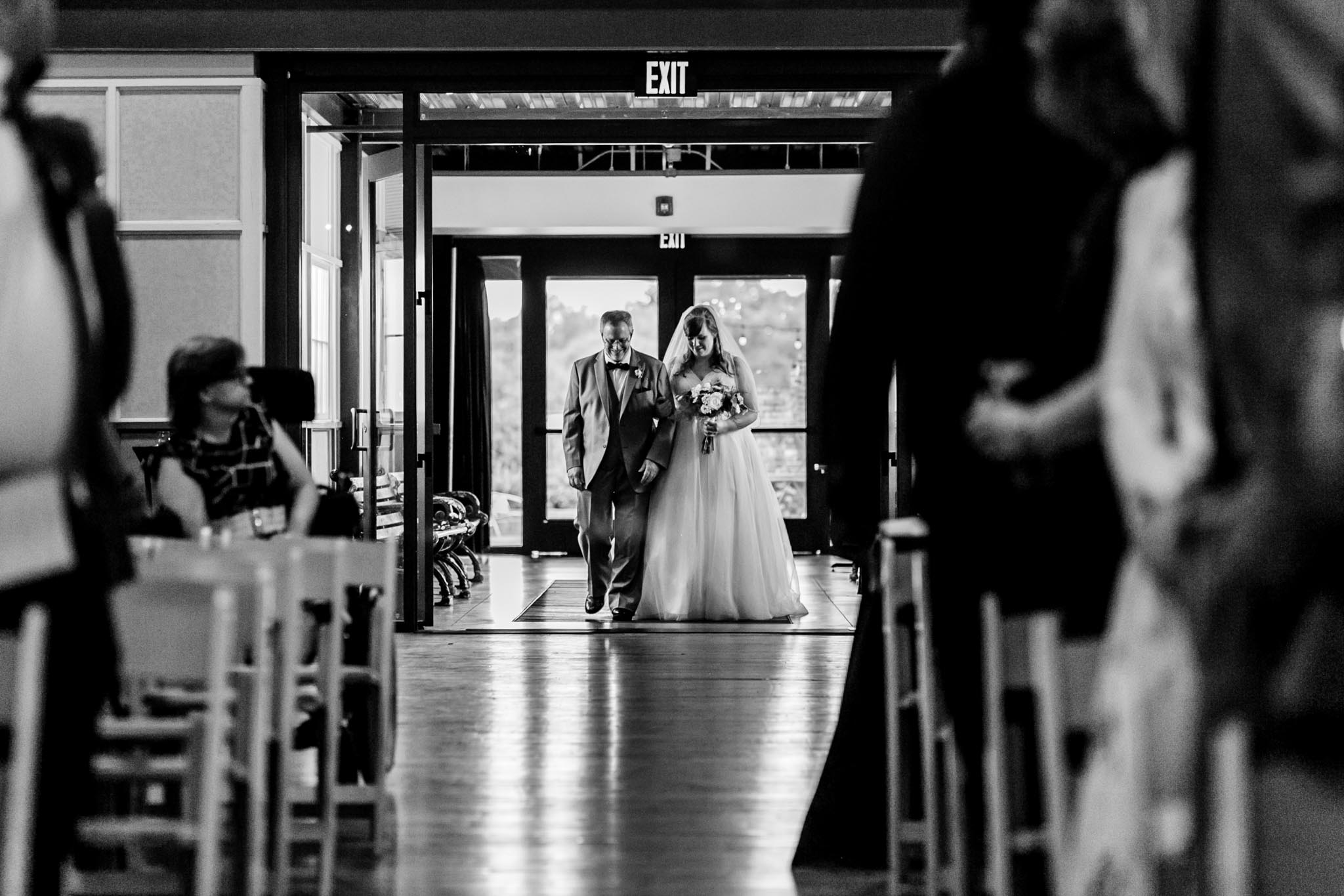 Haw River Ballroom Wedding | Durham Photographer | By G. Lin Photography | Black and white photo of bride with father entering