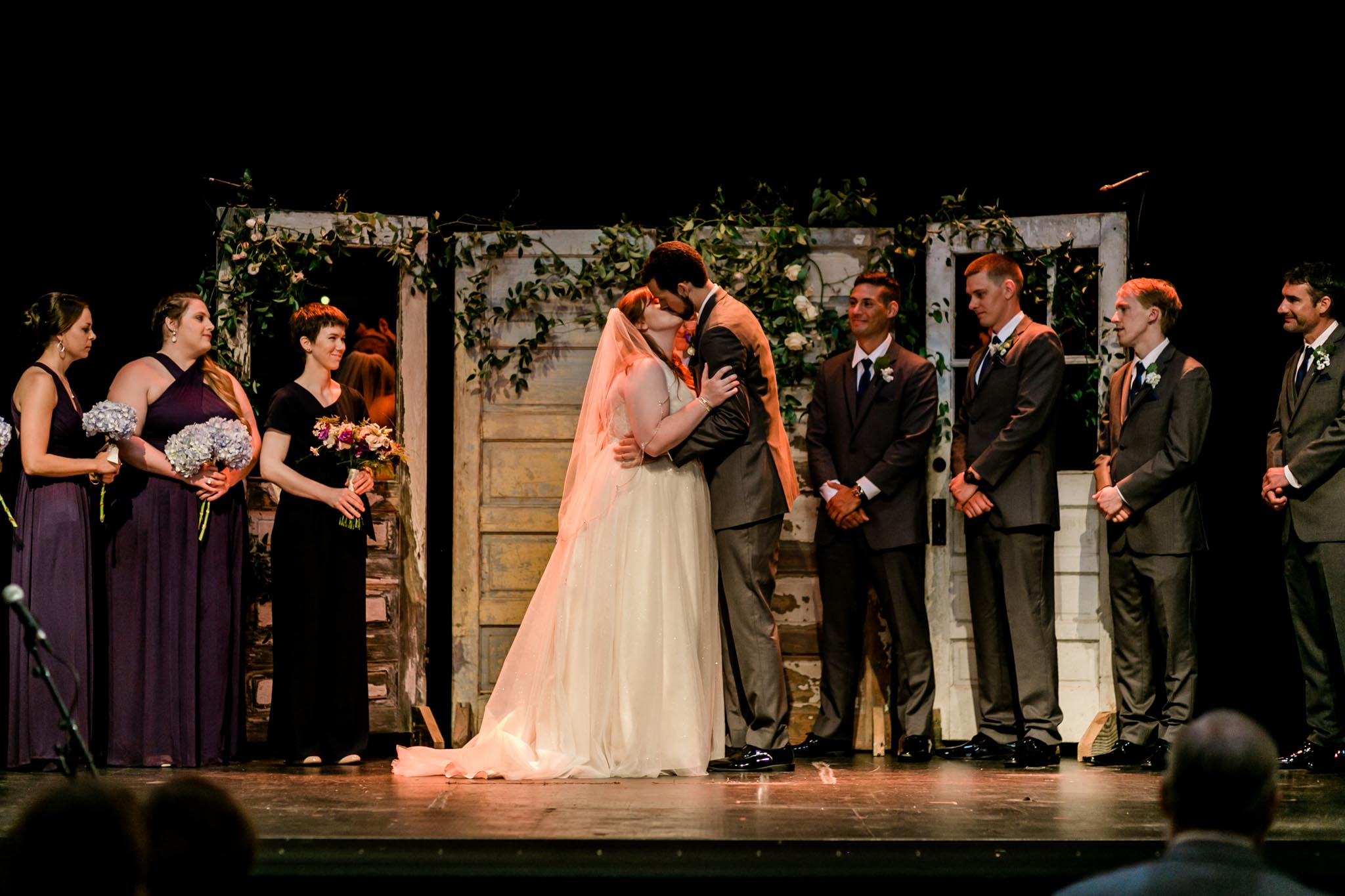 Haw River Ballroom Wedding | Durham Photographer | By G. Lin Photography | Bride and groom kiss during ceremony