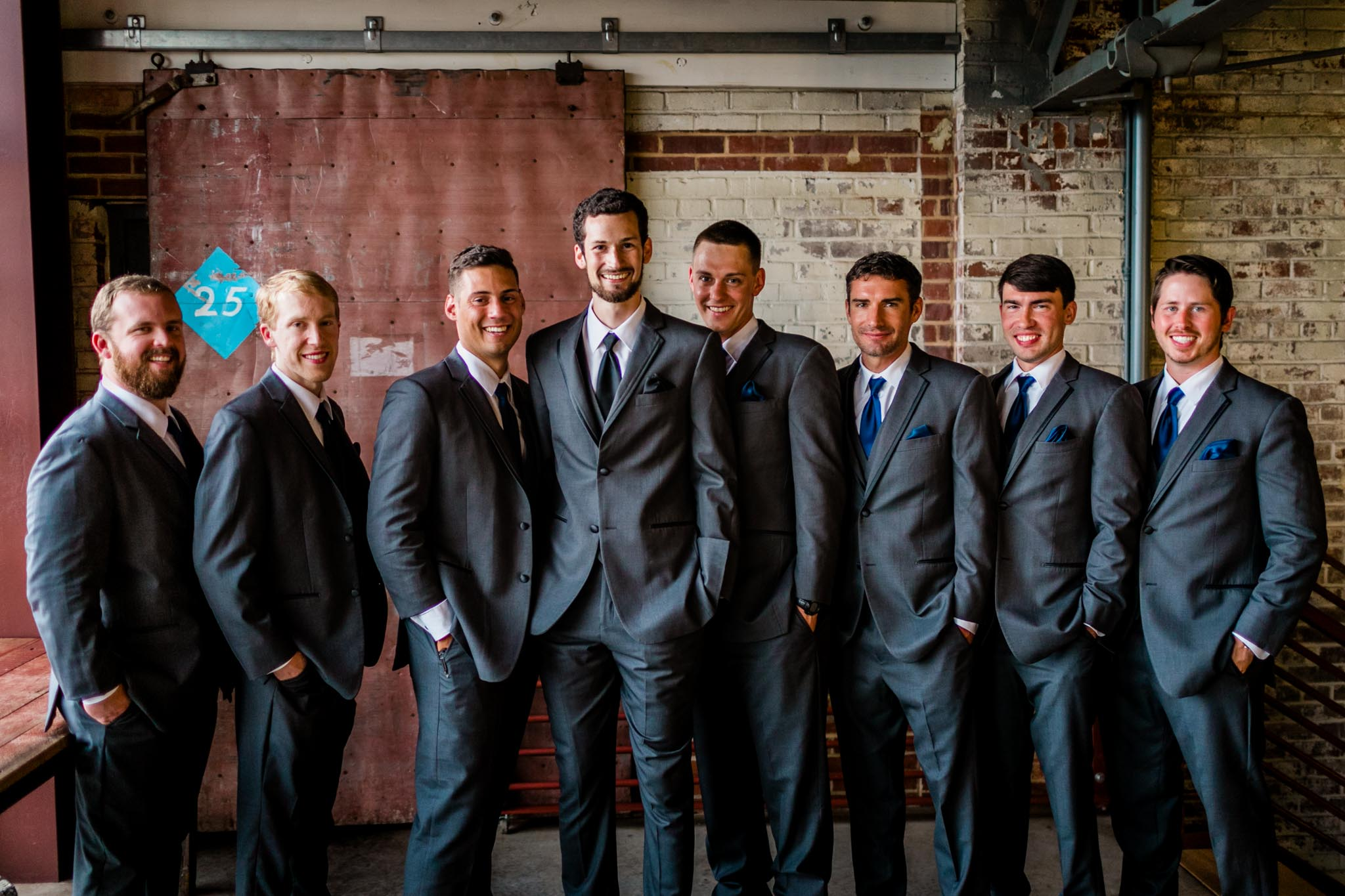 Haw River Ballroom Wedding | Durham Photographer | By G. Lin Photography | Portrait of groomsmen smiling