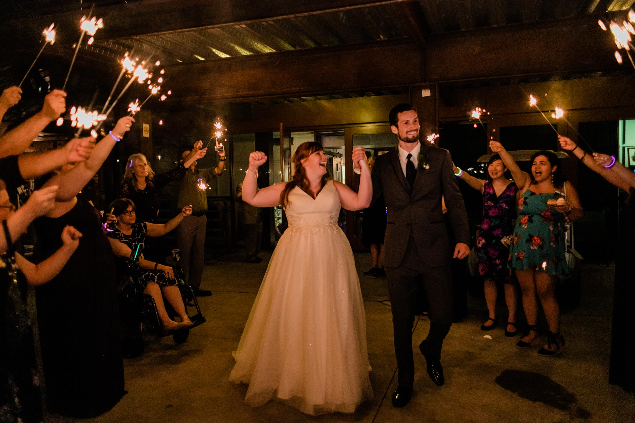 Haw River Ballroom Wedding | Durham Photographer | By G. Lin Photography | Bride and Groom laughing at sendoff