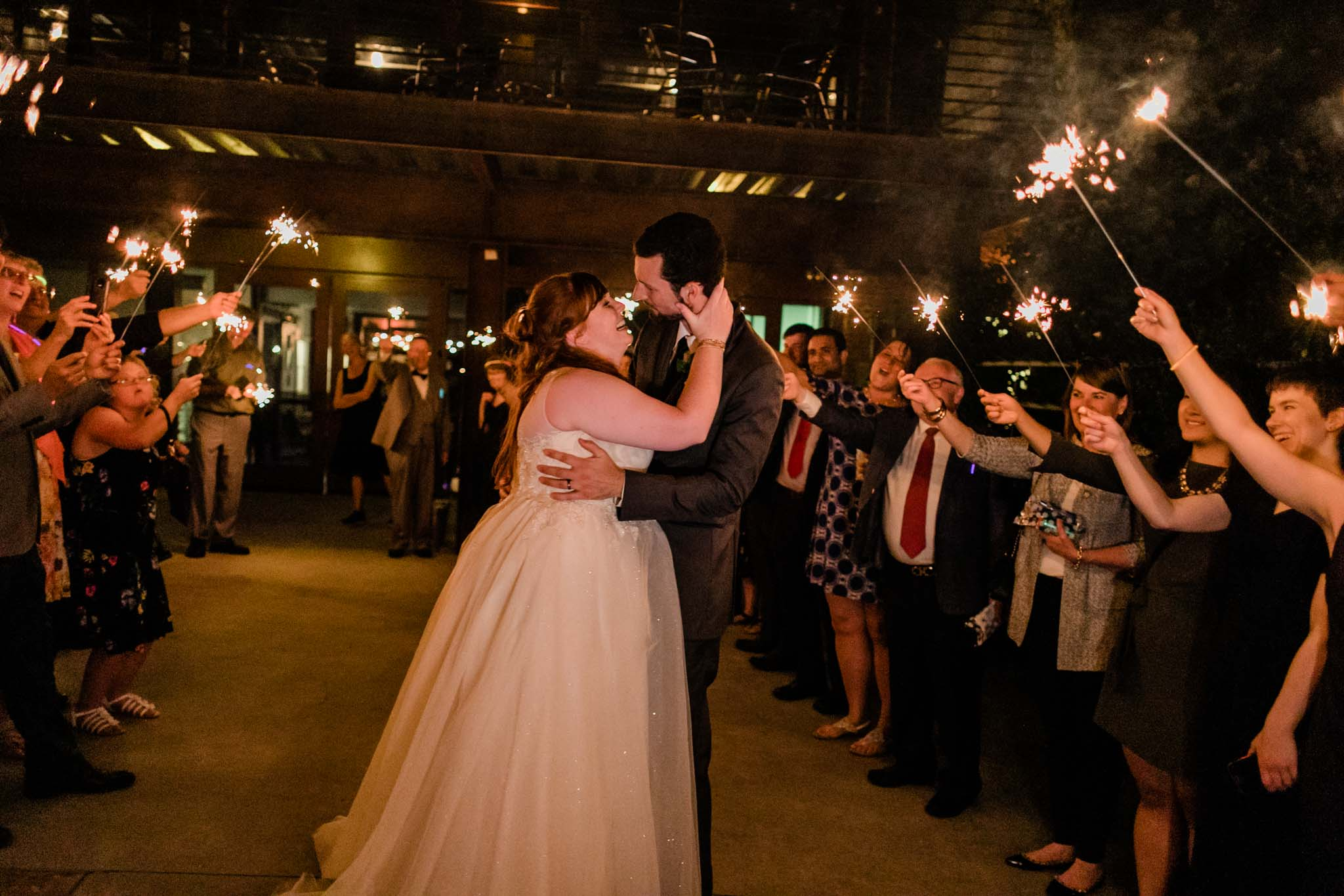 Haw River Ballroom Wedding | Durham Photographer | By G. Lin Photography | Sparkler sendoff