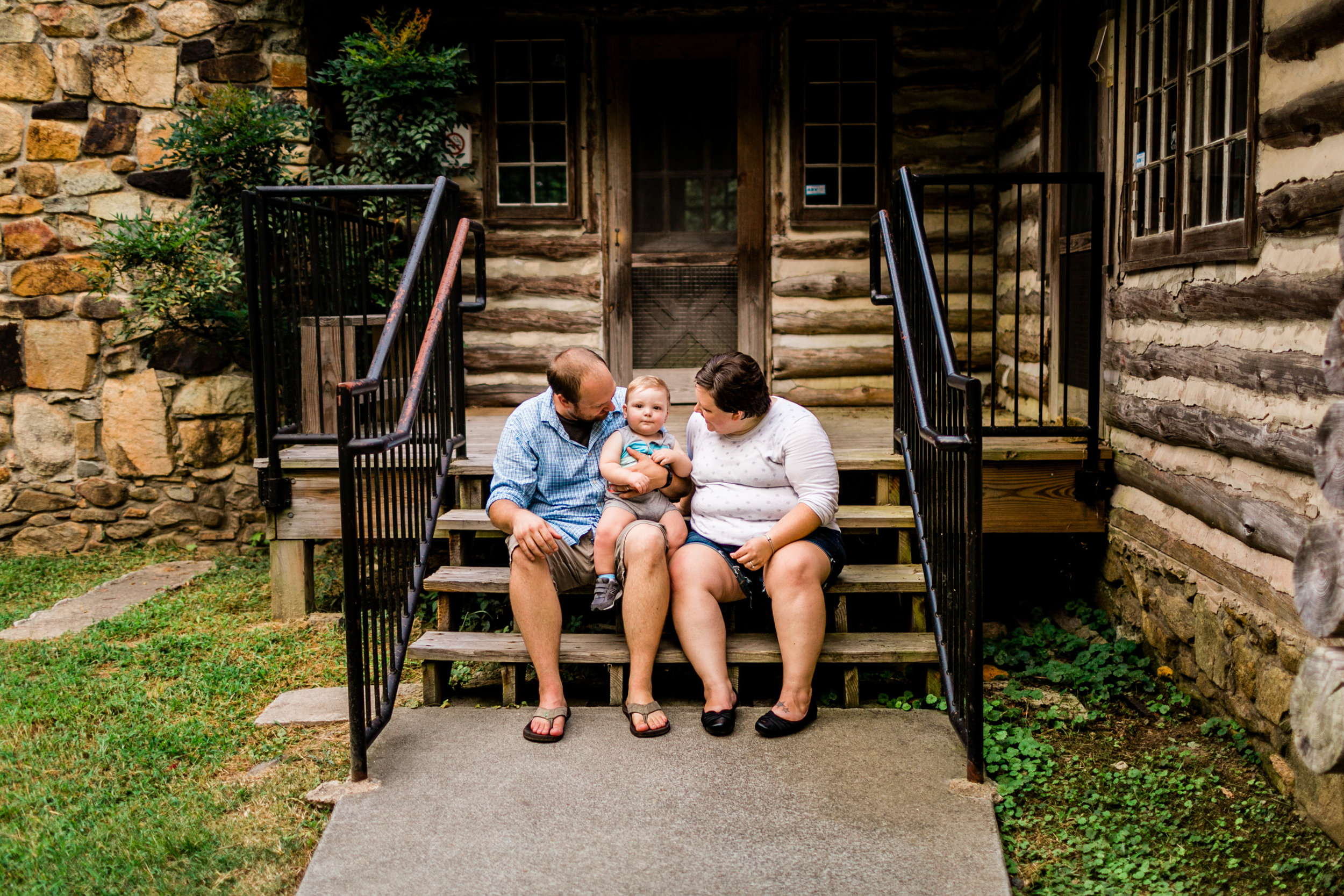 Durham Family Photographer | By G. Lin Photography | Family sitting on steps at Spruce Pine Lodge