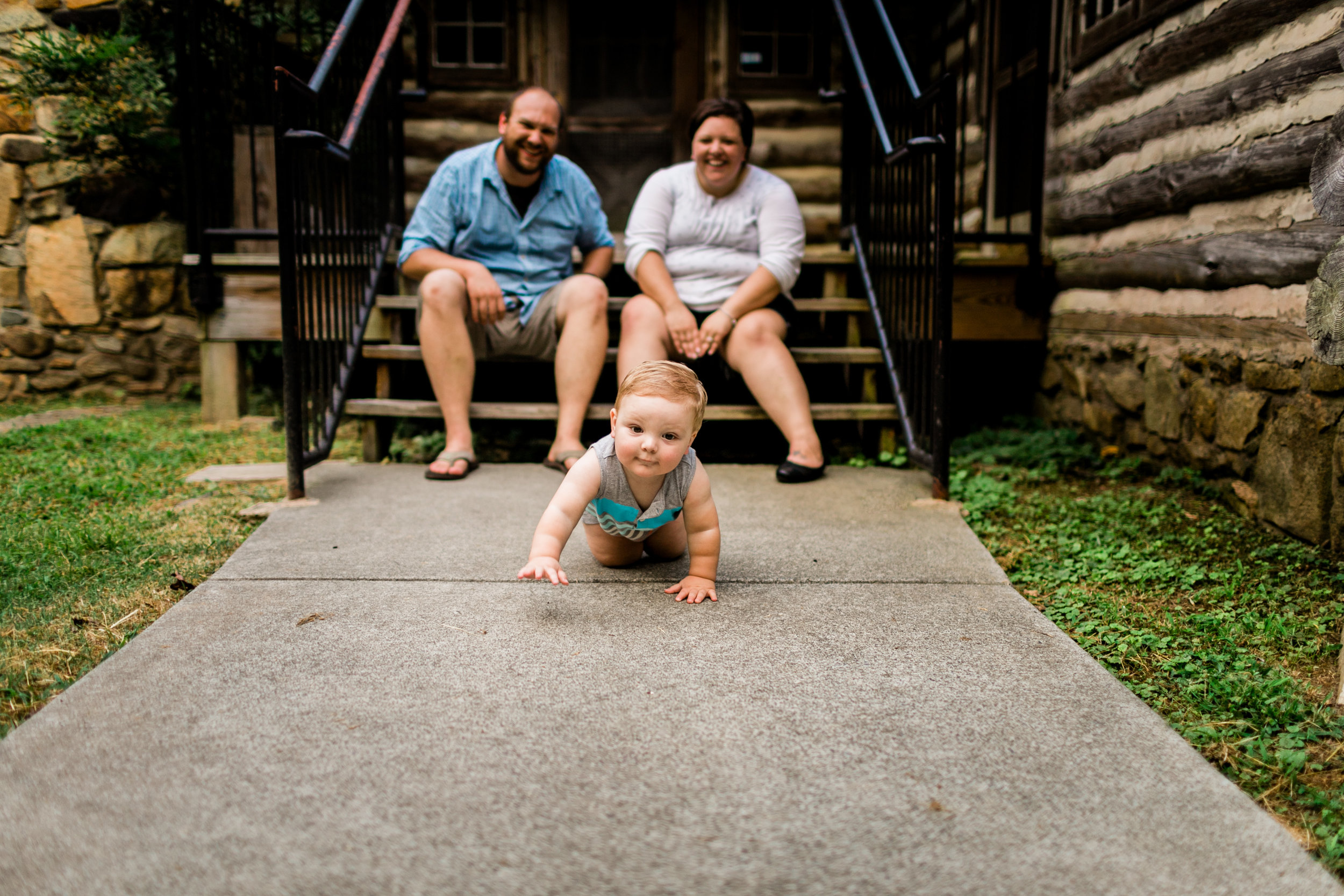 Baby boy crawling on ground | Durham Family Photographer | By G. Lin Photography
