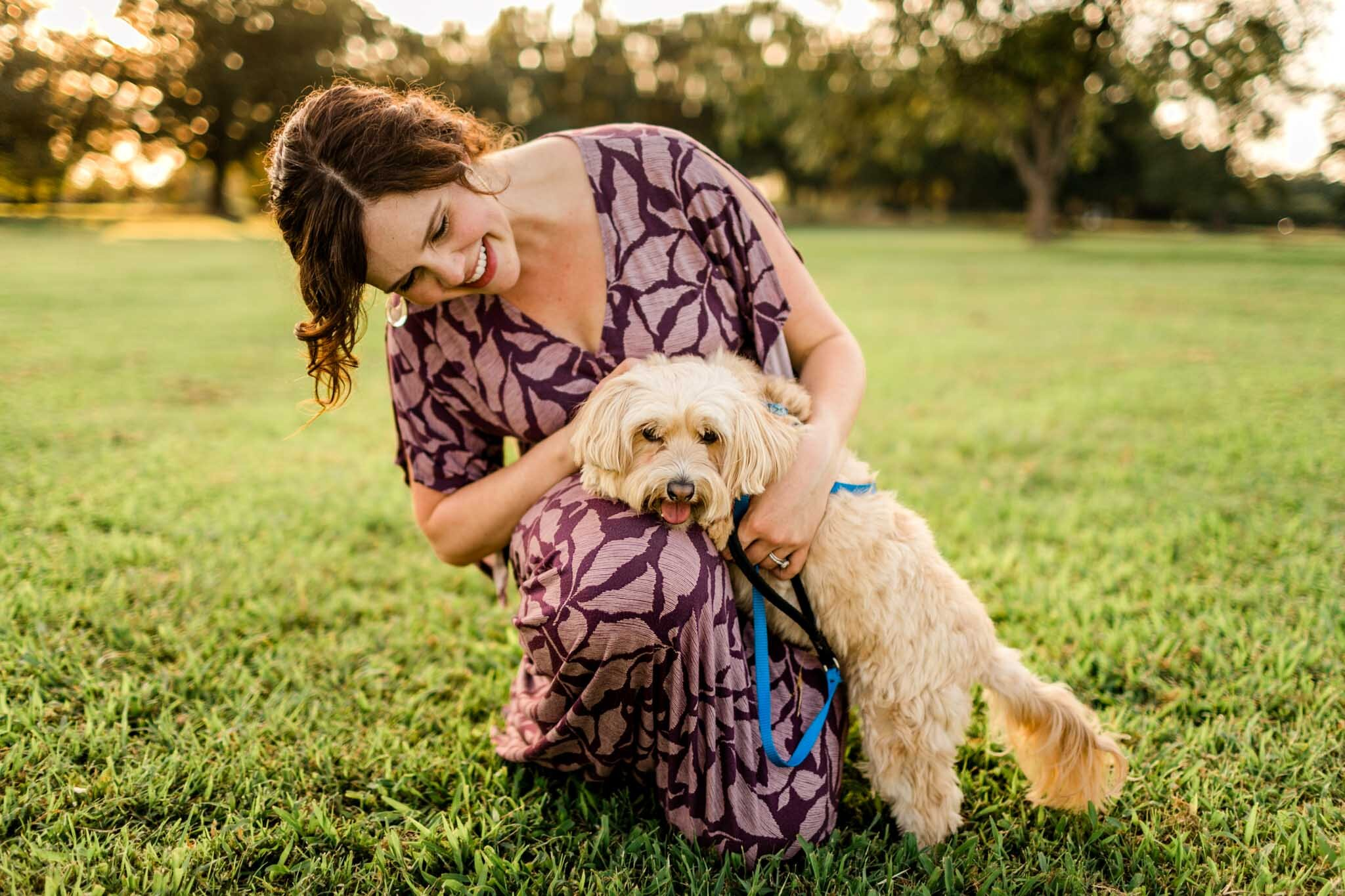 Raleigh Maternity Photographer | By G. Lin Photography | Woman petting dog at Dix Park