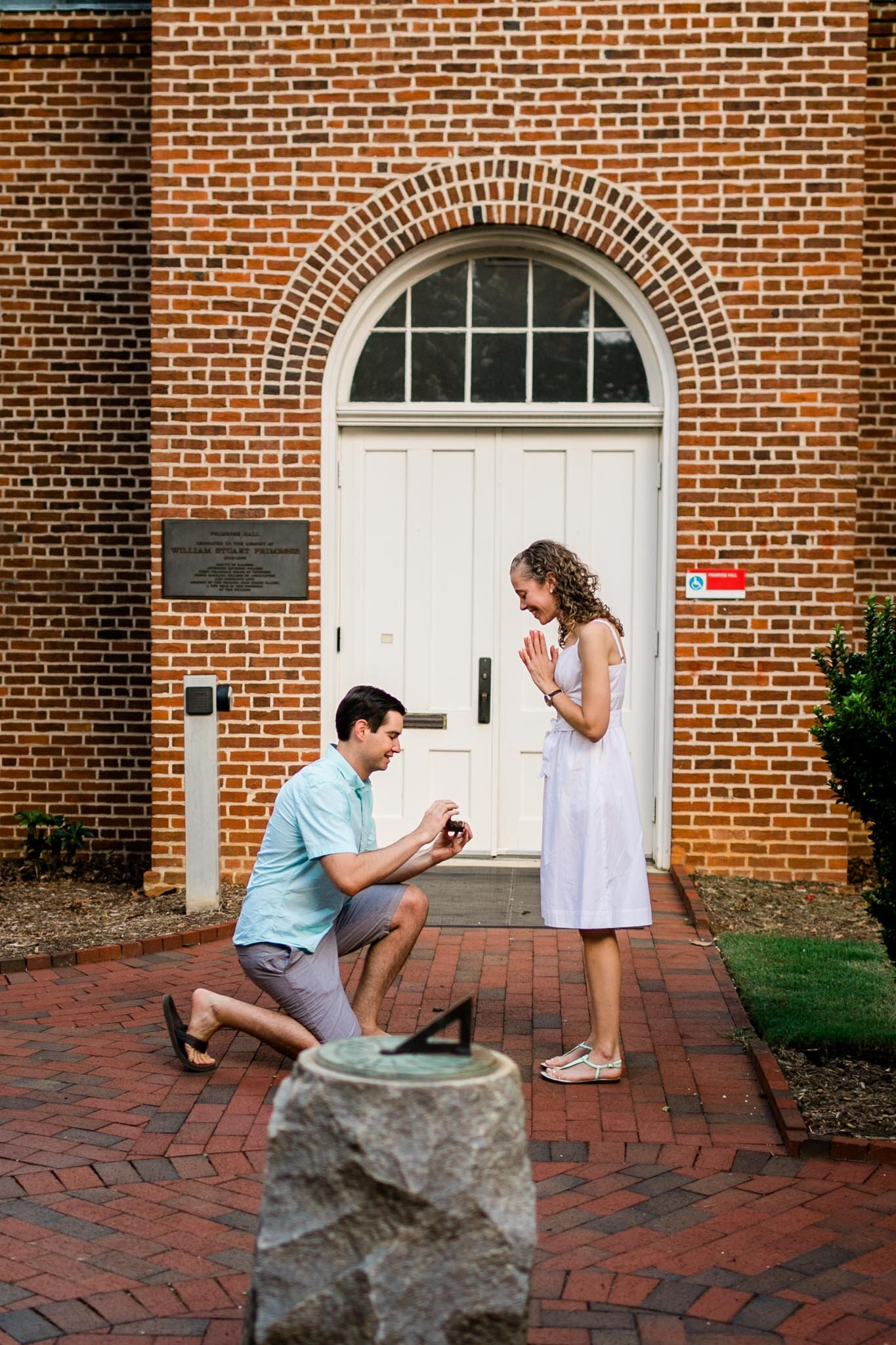 Raleigh Engagement Photographer | NC State University | By G. Lin Photography | Man proposing to woman