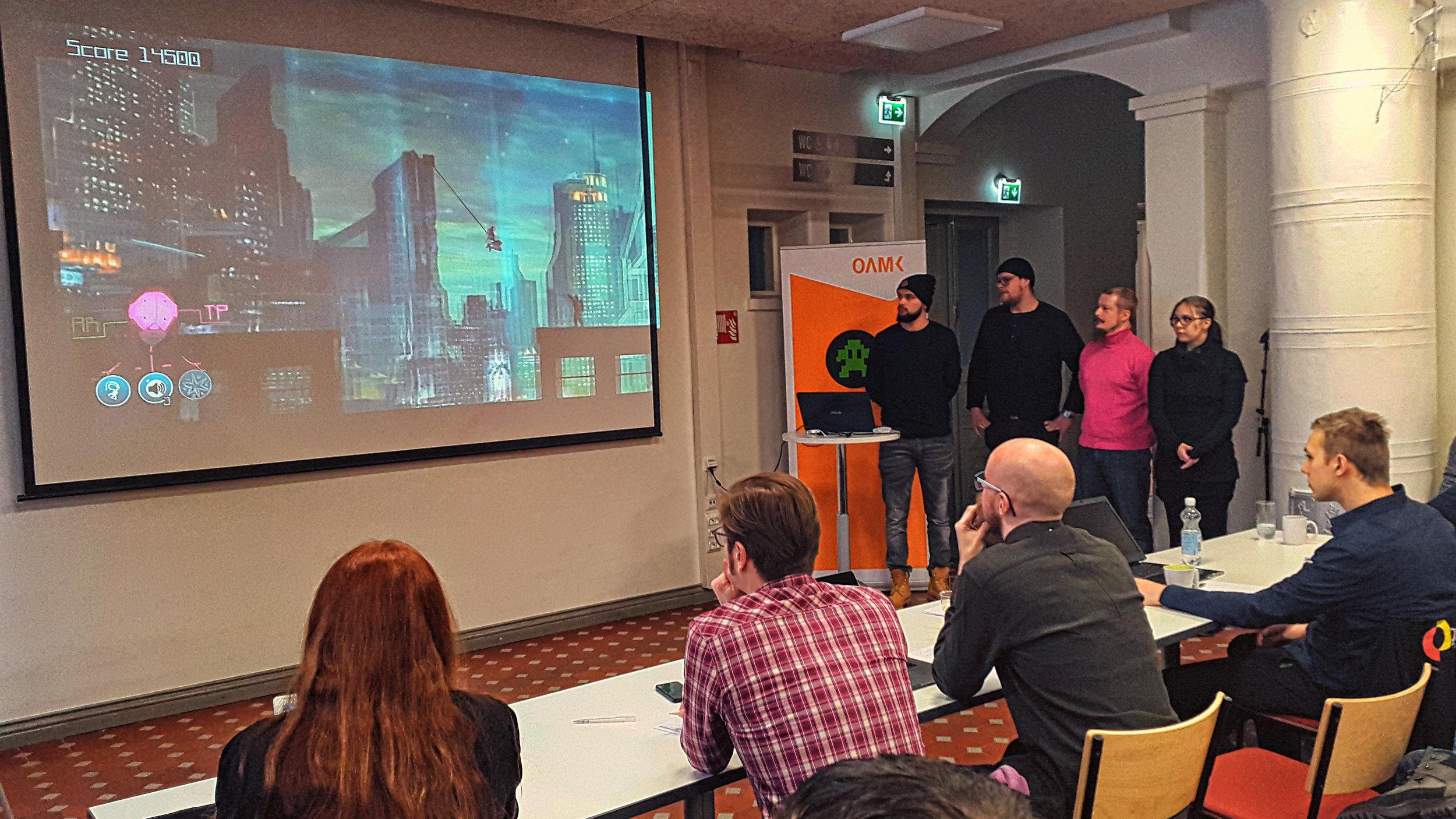 The jury members:Natasha Trygg (Snowfall Ltd. / Turku Game Hub - The Hive), Tomi Hurskainen (Playsign), Tuomas Soukka (Fingersoft), Sasu Louke (Expa Game Business Co-Operative),Juho Wallen (Meizi Games),