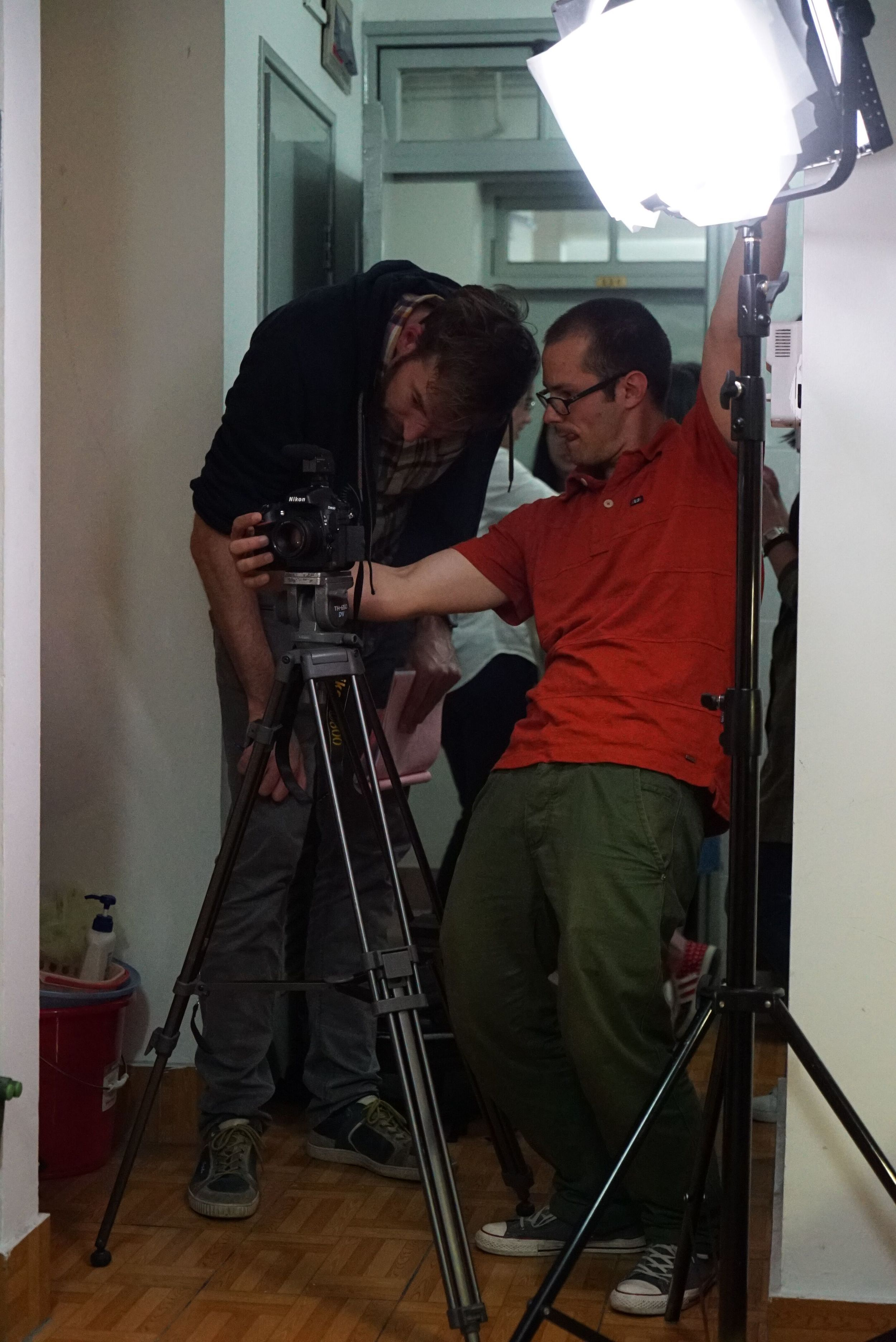 Working very concentrated on the next shot with director Simon Weber in the University's dorm.