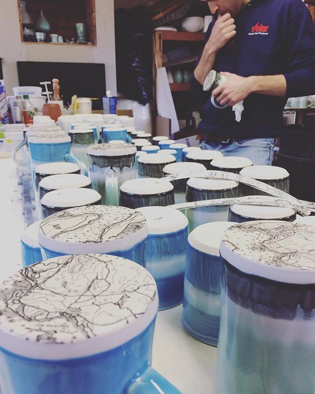 Thanks to everyone who stopped by for day 1 of the #mainepotterytour! We will be open again tomorrow from 11-4. @austinpsmithceramics #camdenclayco #chartseries #decaling #studioshot #workingartist #tricksofthetrade