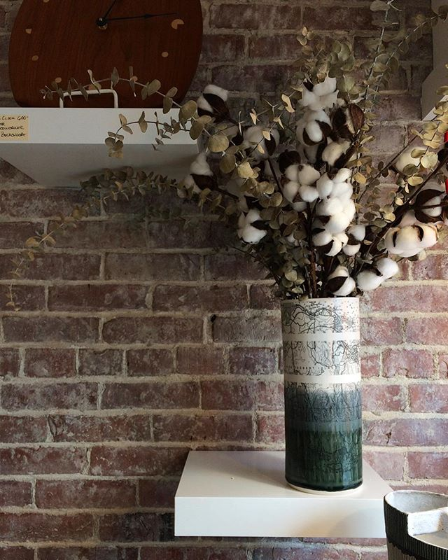 Stopped at @kotcraft to drop off some work today and got to see their beautiful new space. Loved seeing our Chart Vase against their lovingly restored brick wall.