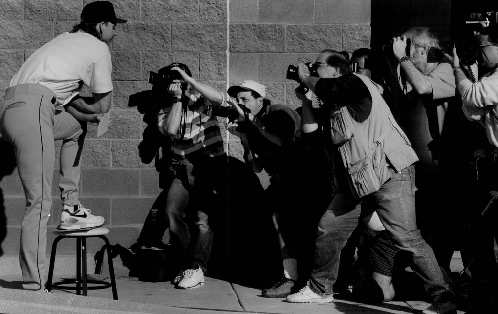 The Seattle Times   Seattle pitcher Randy Johnson poses for a bevy of photographers during picture day in 1993.