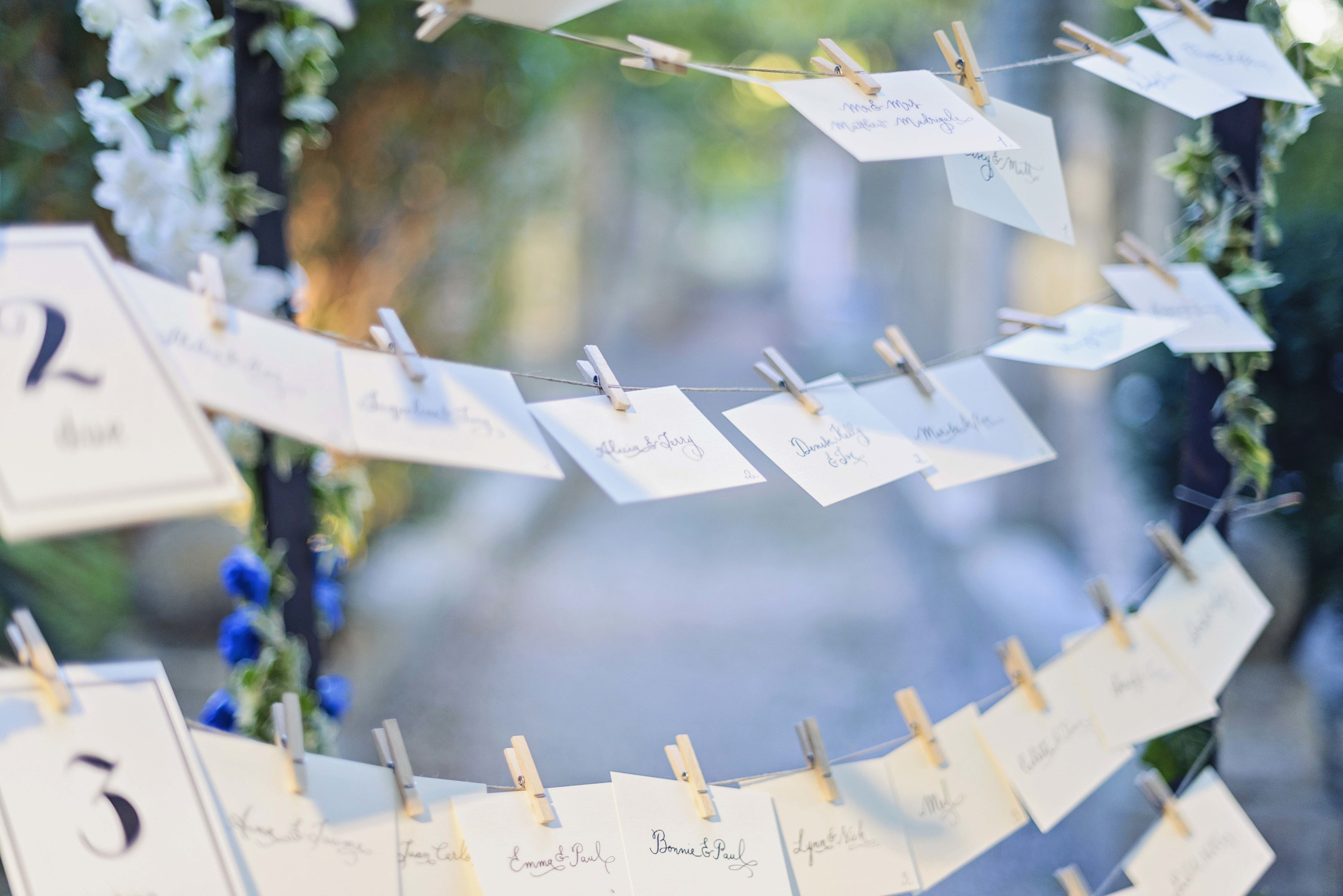 Calligraphy Escort Cards hung over the well in the grounds