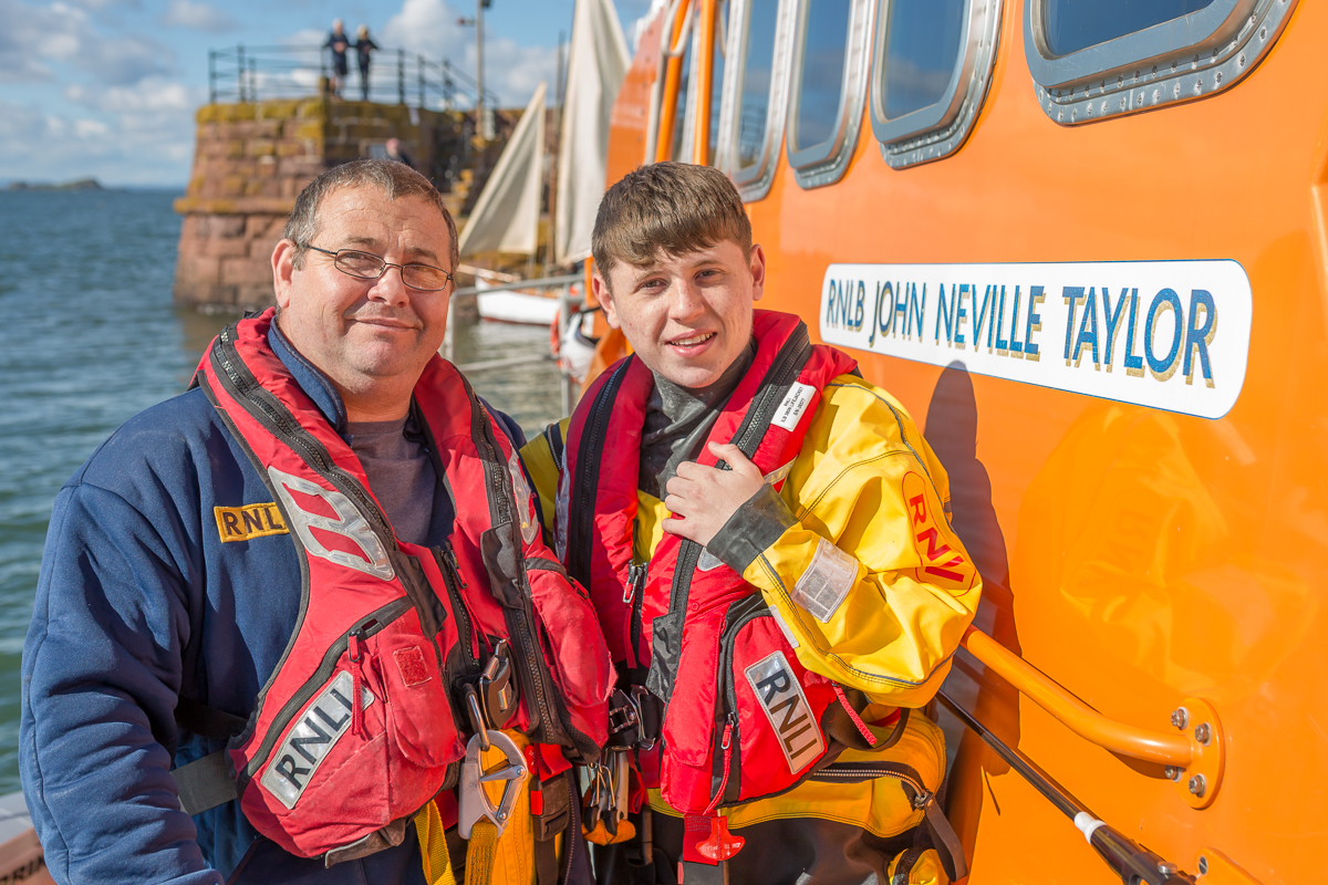 Gary and Kieran Fairbairn aboard Dunbar's all-weather lifeboat (ALB). (photo: Nick Mailer)