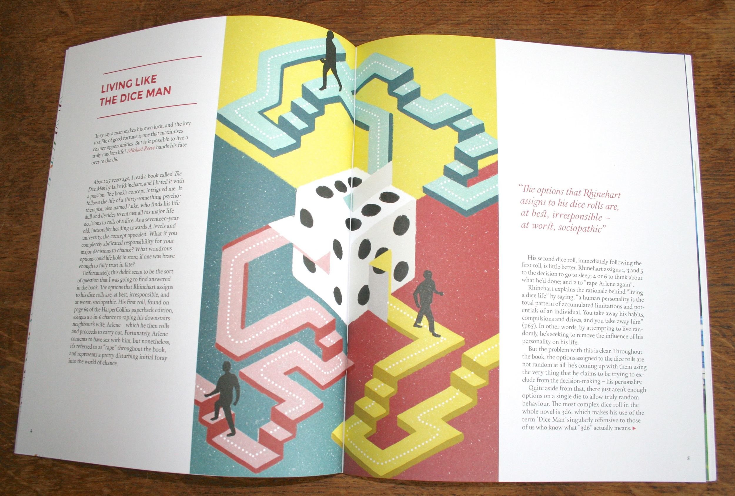 Spread from Hack Circus issue #7. Dice image by Sophie Standing.