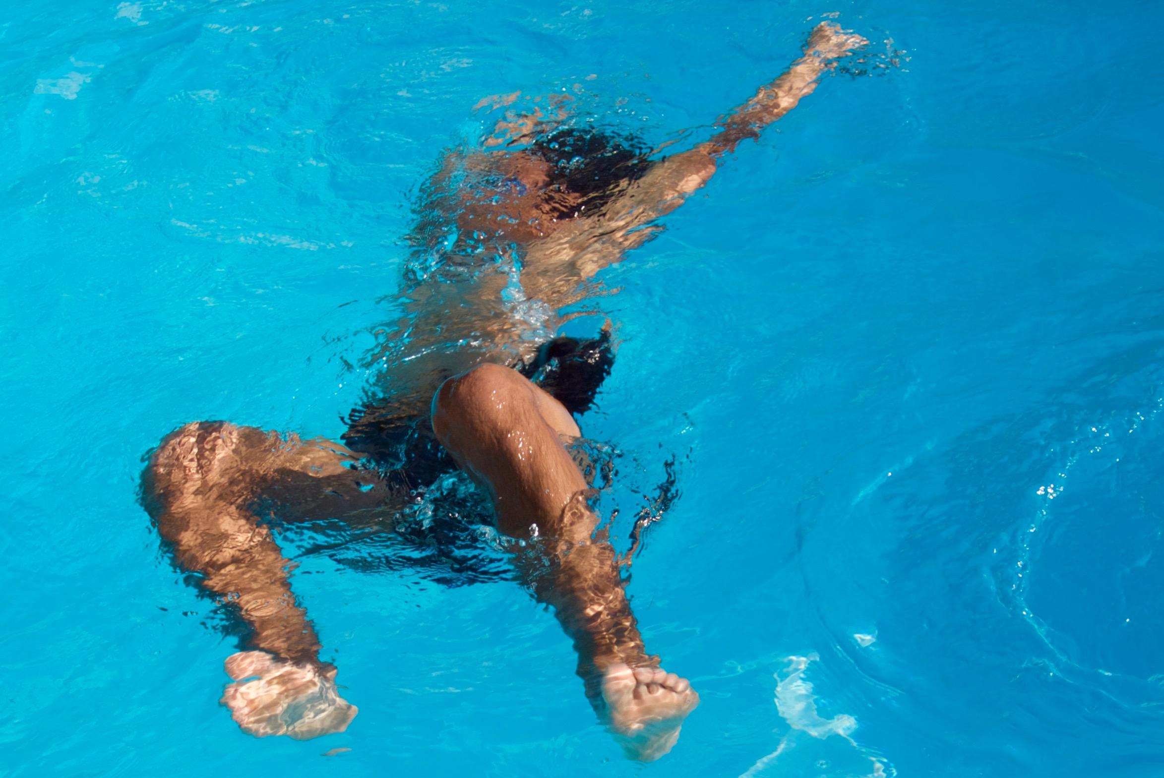 Rambert dancer Liam dancing in his pool earlier this week