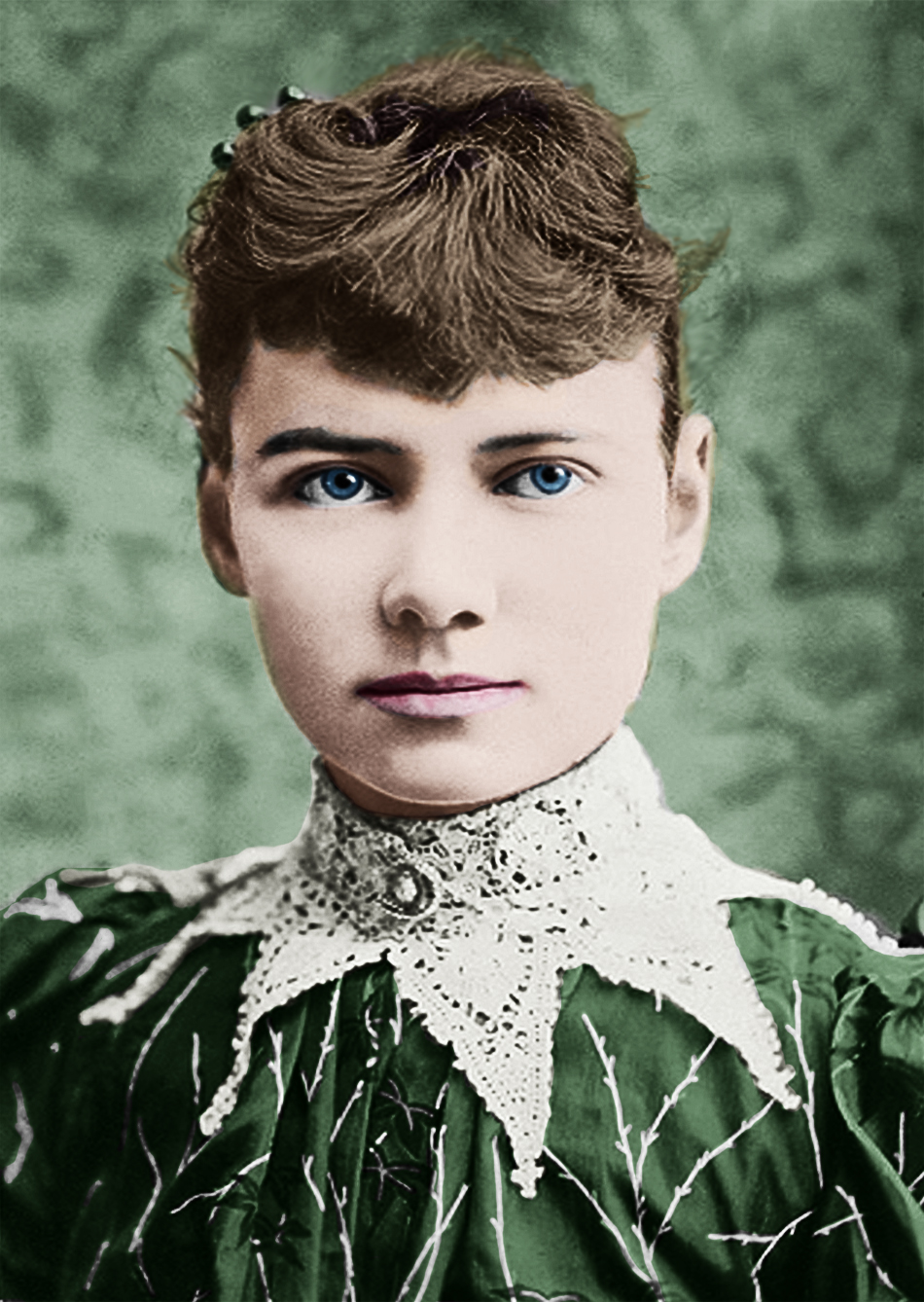 A hand coloured image of Nellie Bly.