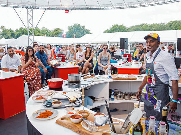 Live cooking show at the Taste of London Food Festival