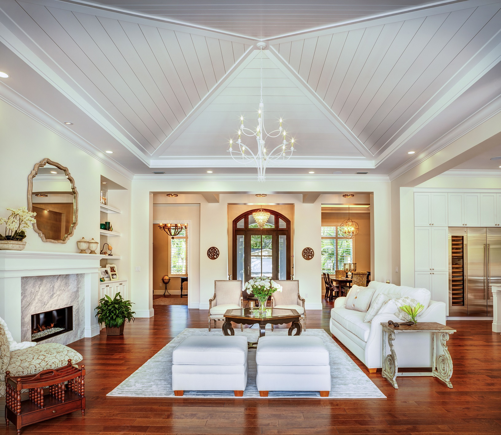 Sarasota Custom Home Great Room Vaulted Ceiling