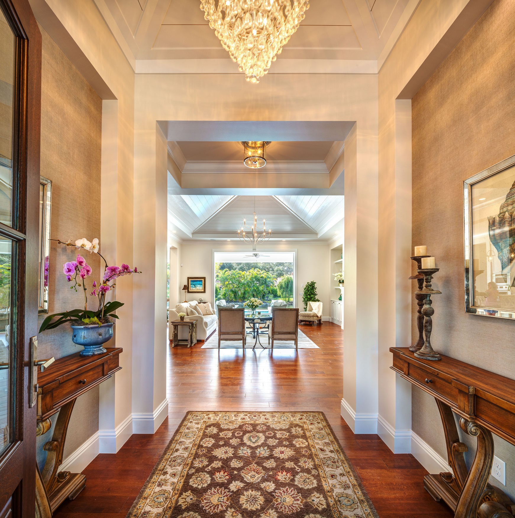 Elegant Entry Hardwood Floor Custom Home Sarasota Florida