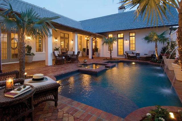 Private Courtyard Pool and Spa Sarasota Custom Home