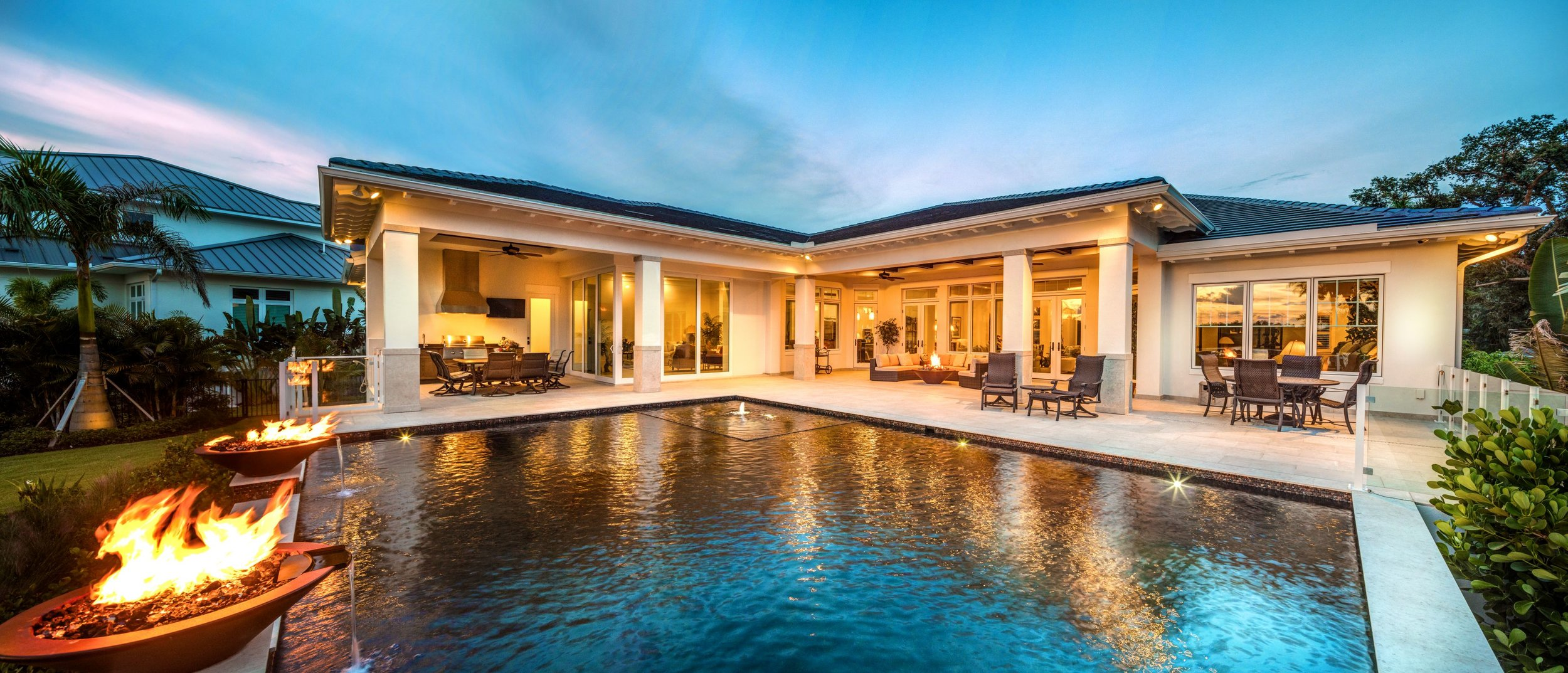 Sarasota Custom Home Builder Outdoor Living Pool Fire Bowl