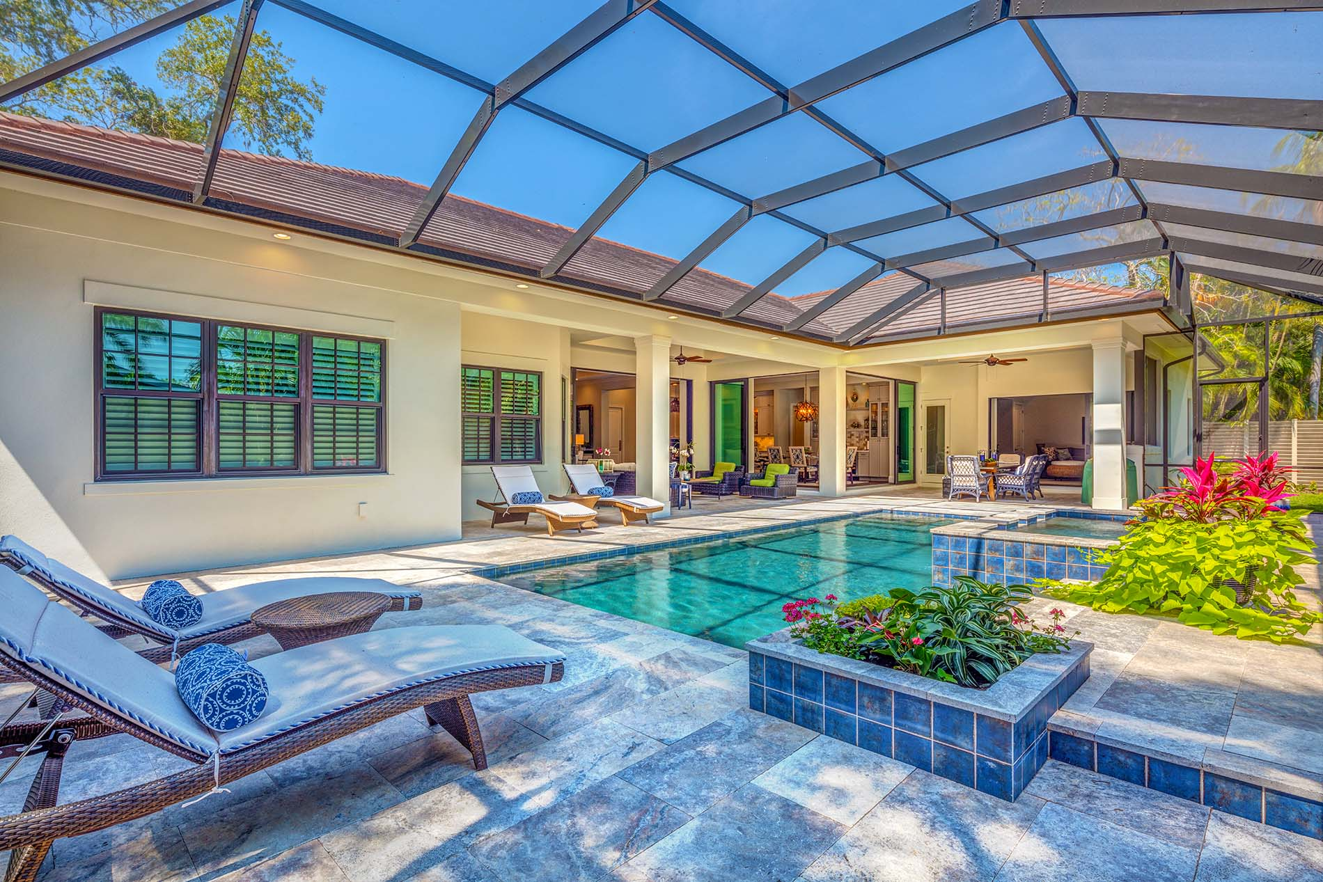 Sarasota Custom Home Lagoon Pool Cage