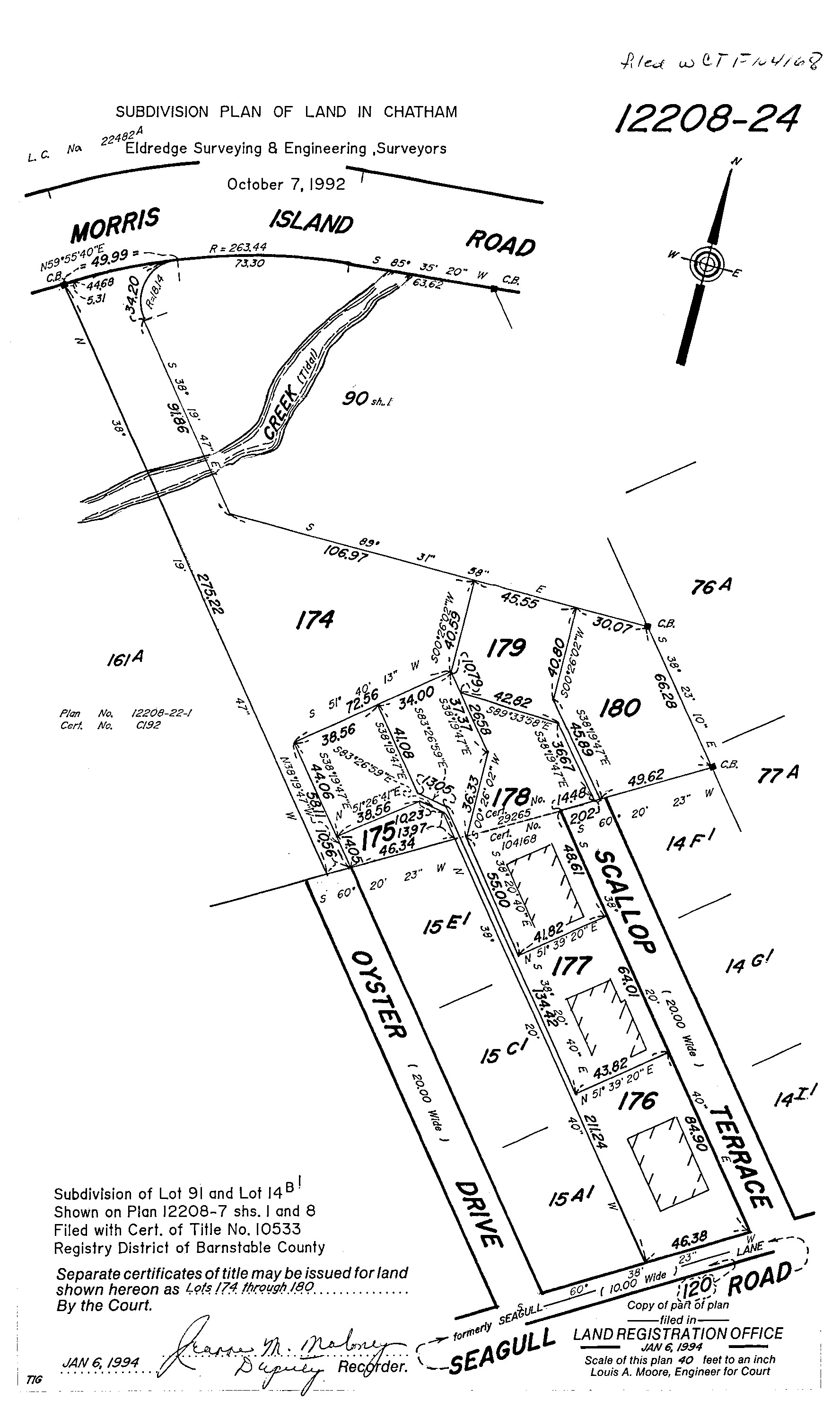 """The property line was questioned as the owner of Lot 177 was under the impression that the boundaries follow the historic use of the parking. The owner of Lot 177 has traditionally used a space located on Lot 176. This """"gentleman's agreement"""" is proposed to carry forward. The current certificates of title for both properties can be viewed below:  Lot 176 - Certificate of Title 213721   Lot 177 - Certificate of Title 188830  Both Certificates refer to the lots depicted on Land Court Plan 12207-24 which is provided above. The common boundary is extremely close to the house on Lot 177 just as the boundary between Lot 177 and Lot 178 is extremely close to the house on Lot 178.  The infrastructure is undersized for the 6 properties as there are only 10 parking spaces where 12 are required under zoning. Fortunately there has been a trend of neighborly peace and longstanding traditions of allowed and accepted uses that do not follow the boundaries. All too often we see the unfortunate greed of prohibiting others over the imaginary lines of ownership and it is inspiring to find neighbors who are truly neighborly."""