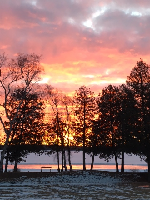Sunrise this morning here at St Josephs Formation Center, Baileys Harbor