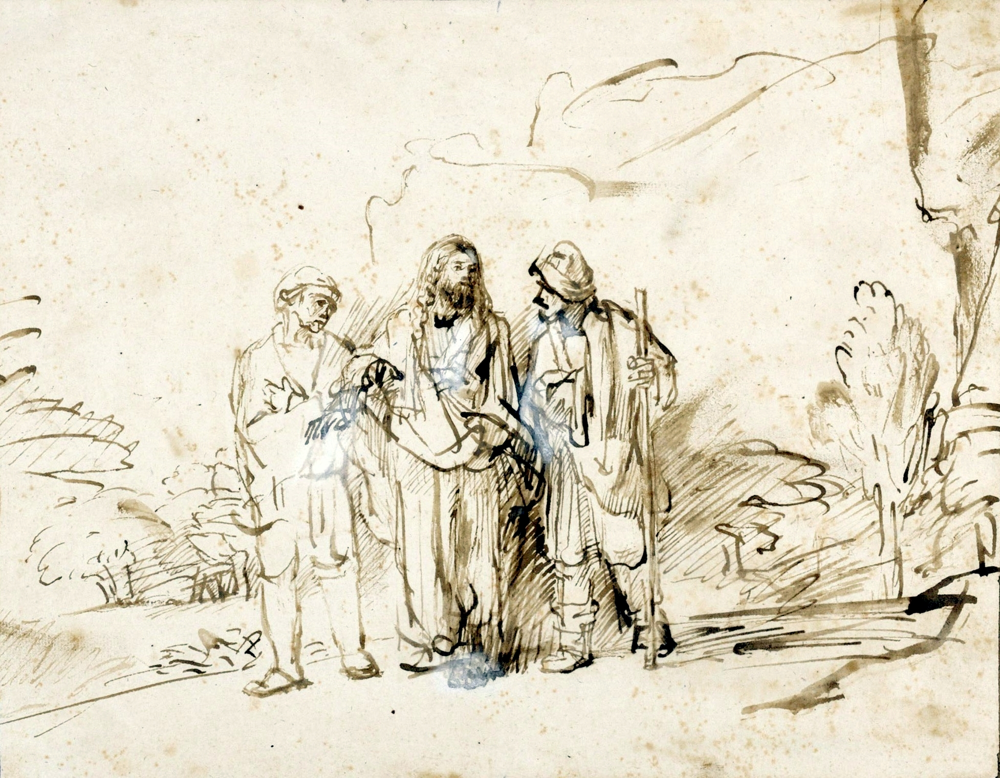 Rembrandt's sketch of Jesus and the disciples.  A point of ponder:   It was most difficult to find a painting or sketch of Jesus sending his disciples out without having Jesus in the picture with them.  I found that in itself worth contemplating-