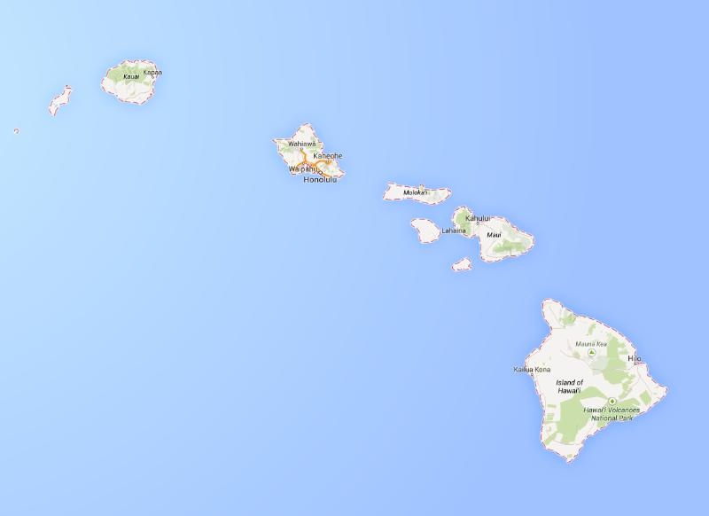 Photo of Hawaiian Islands from Google Maps