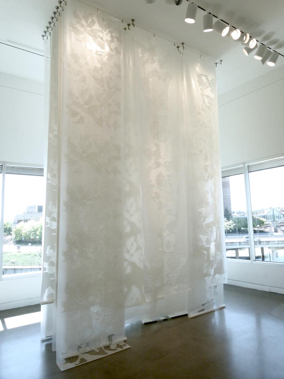 Shroud,  2017, cut paper, 15' feet x 12' feet x 5' feet.