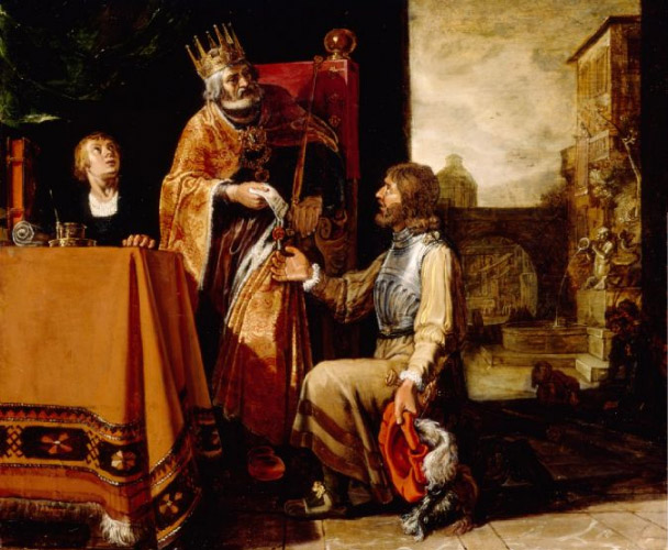King David Handing the Letter to Uriah, by Pieter Lastman