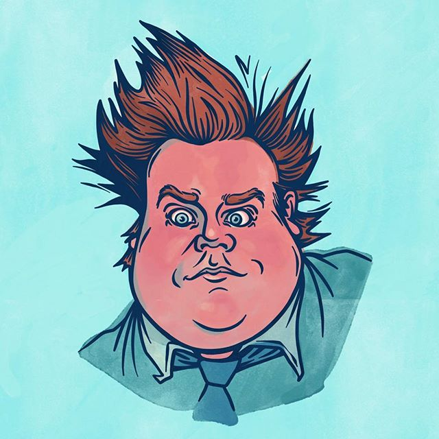 Did anyone else watch Adam Sandler's tribute to Chris Farley on SNL last night? 🤧🤧🤧Here's a portrait of Tommy Boy, his character in one of my fav movies. . . . . .  #ChrisFarley#snl#tommyboy#portraitpainting#adobesketch#illustration#artistsoninsta#watercolor