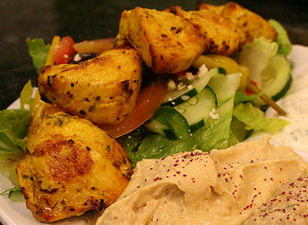 CHICKEN KABOB WITH HUMMUS, BABA GHANNOUJ AND TZATZIKI