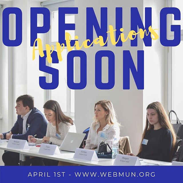 Do you want to be part of WebMUN 2019? ‼️Applications will open on April 1st!‼️ • Join us on October 18th- 21st and be part of an innovative and interactive conference in the heart of Europe! 🌍 ❤️ • This year's topic will be REFORM, REBUILD, RECONSTRUCT - CURRENT ISSUES EMERGING IN THE INTERNATIONAL POLITICAL ECONOMY. • The conference will consist of 8 interconnected committees and you can apply as a delegate, chair or journalist.🙌🏽 • To apply, click on the link in our bio. For more information, visit www.webmun.org or email us at secretariat@webmun.org • Send your application as soon as possible, spots are limited! . . . #webmun2019 #revolutionizingwebmuns  #webstervienna #weareallwebster #conference #internationalrelations #modelun #websteruniversity #webster #international #conference #students #internationalstudent #diplomacy #economy #politics #debate