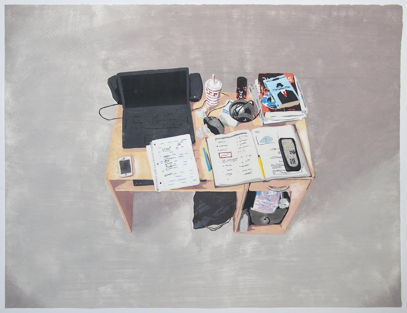 Lucas's Desk, Japanese woodblock print.
